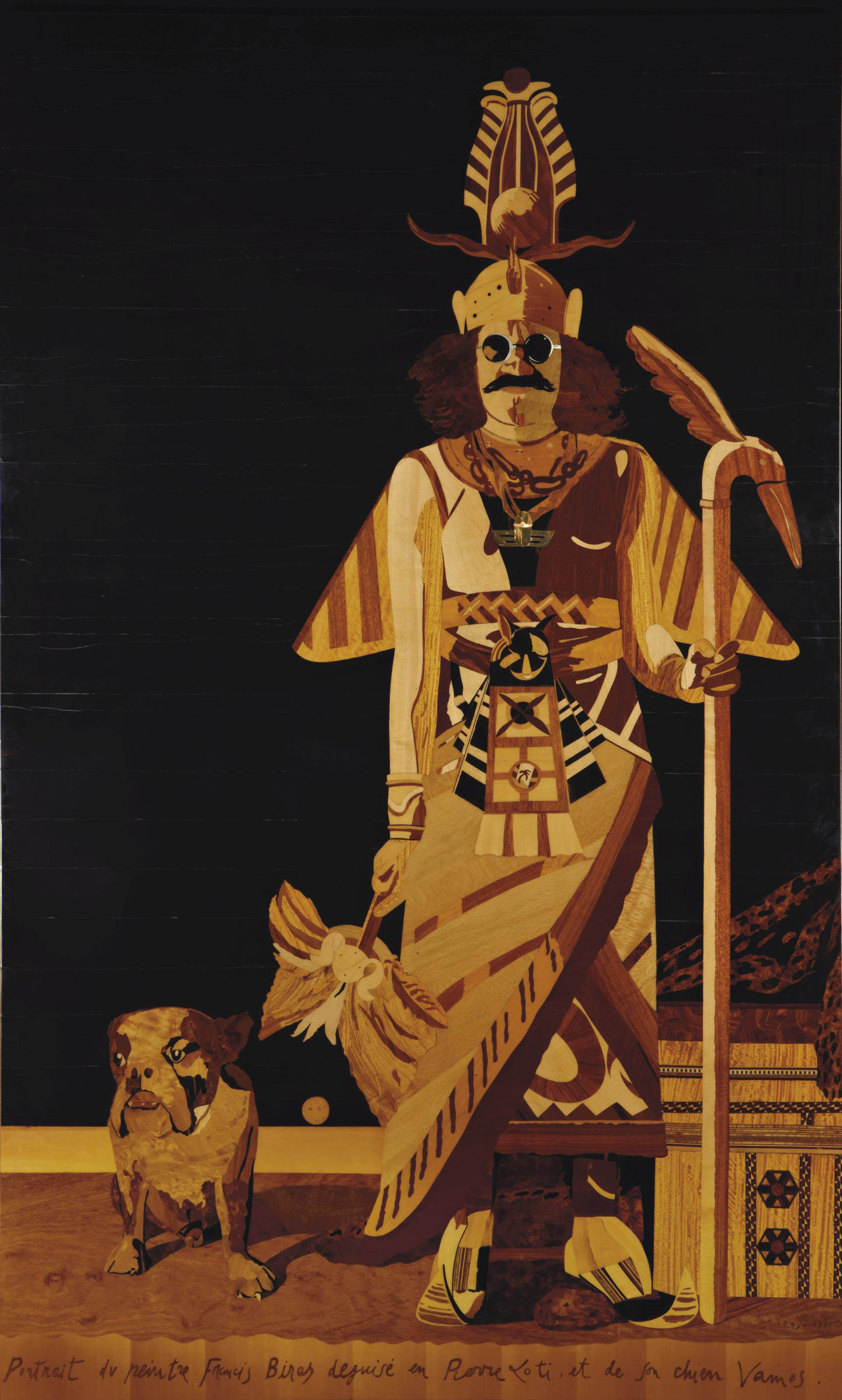 Portrait du peintre Francis Biras déguisé en Pierre Loti et de son chien Vamos