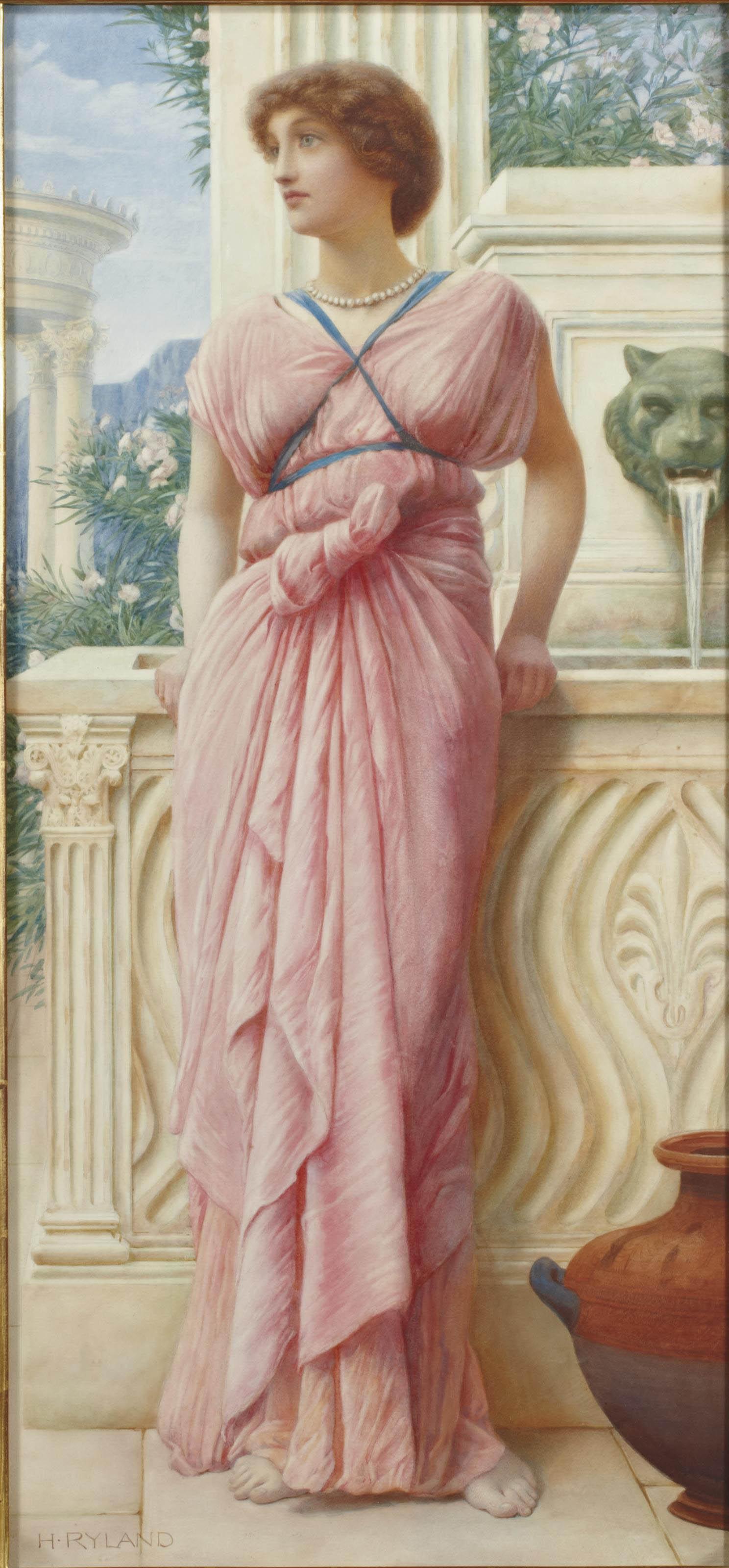 Femme draprée devant une fontaine antique