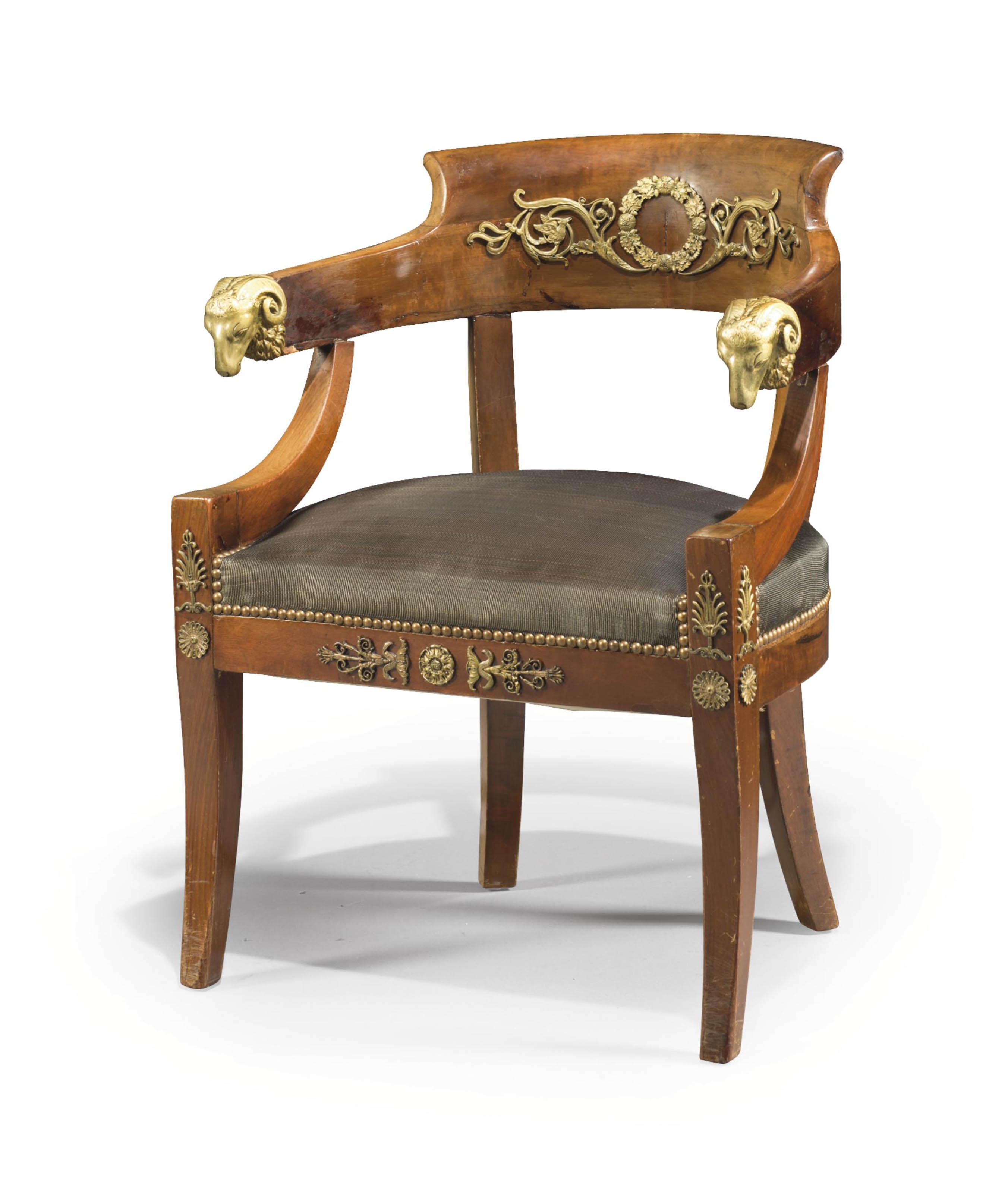 FAUTEUIL DE BUREAU DE STYLE EMPIRE VERS 1900 chair mahogany
