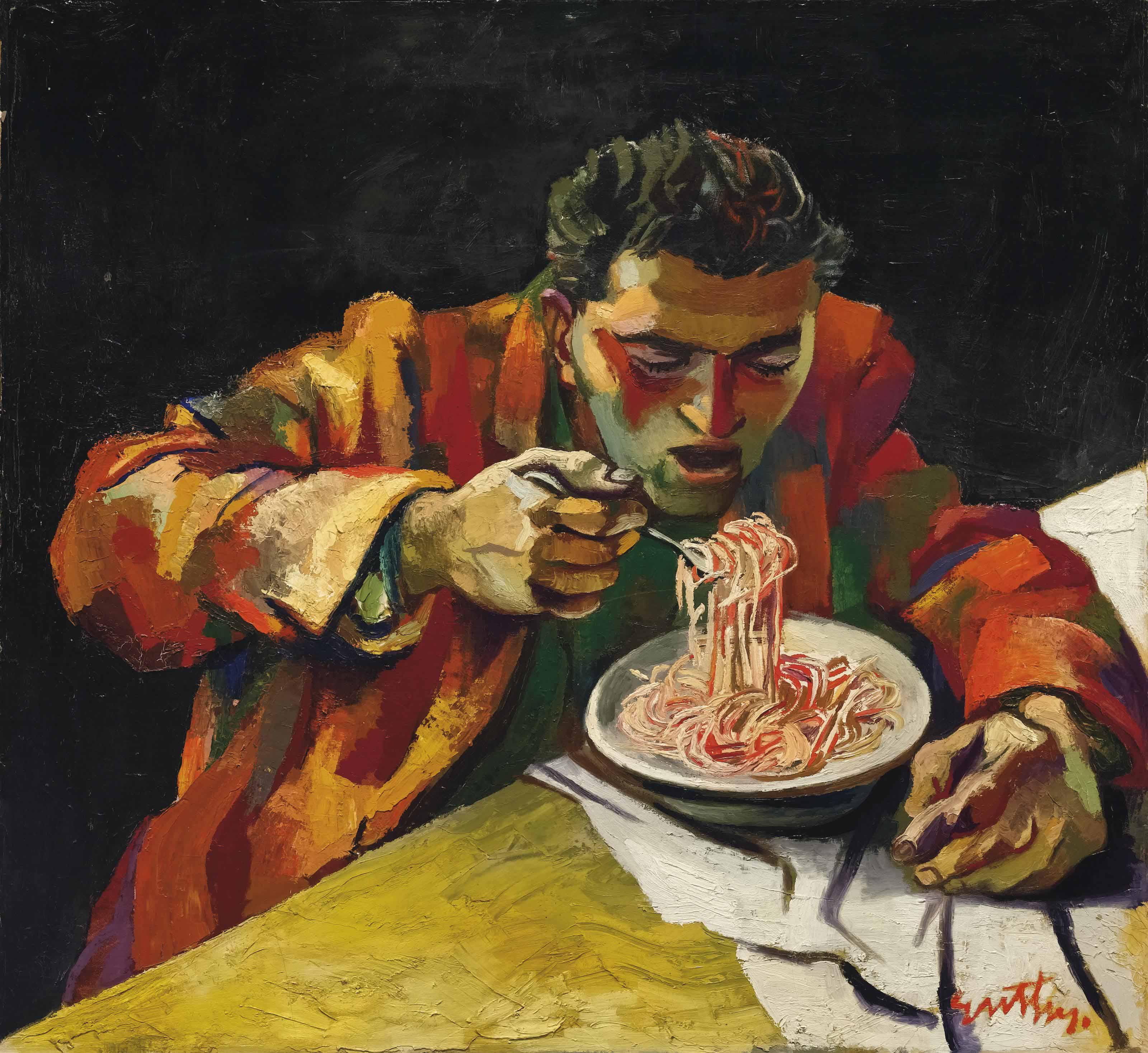 Uomo che mangia gli spaghetti