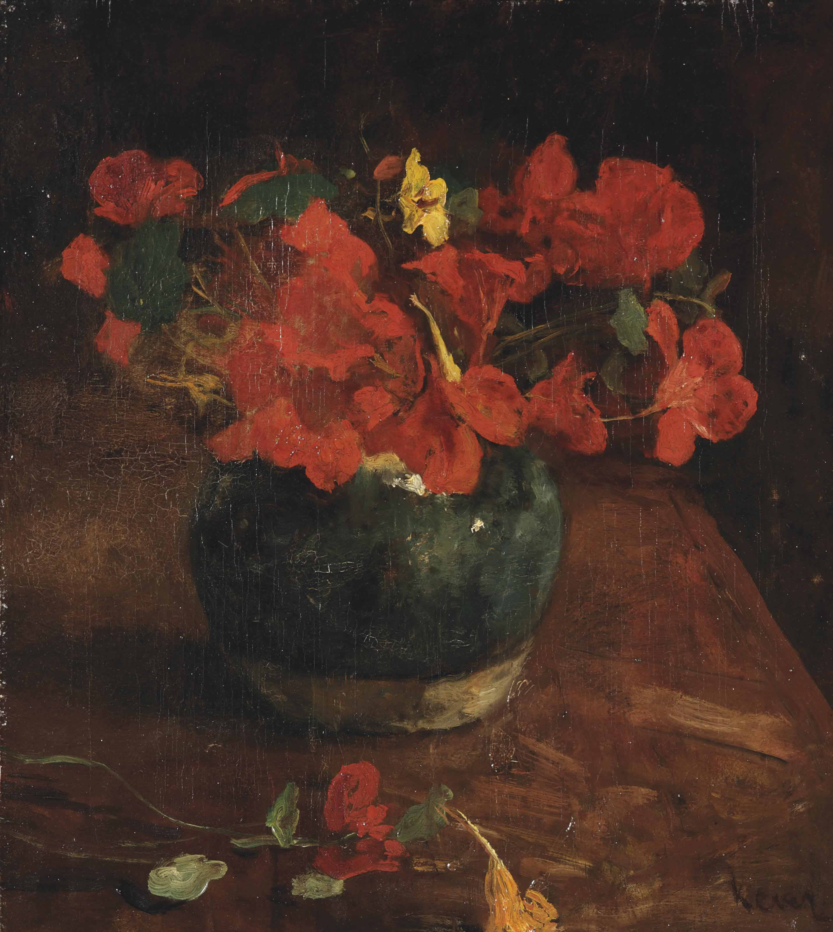 A still life with Indian cress in a ginger jar