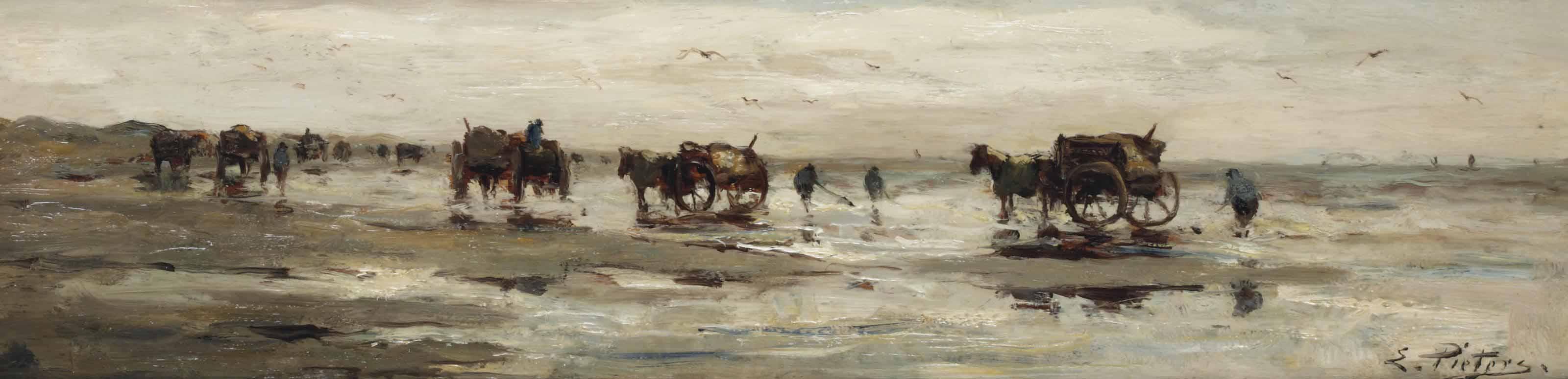 Shell fishermen on the beach