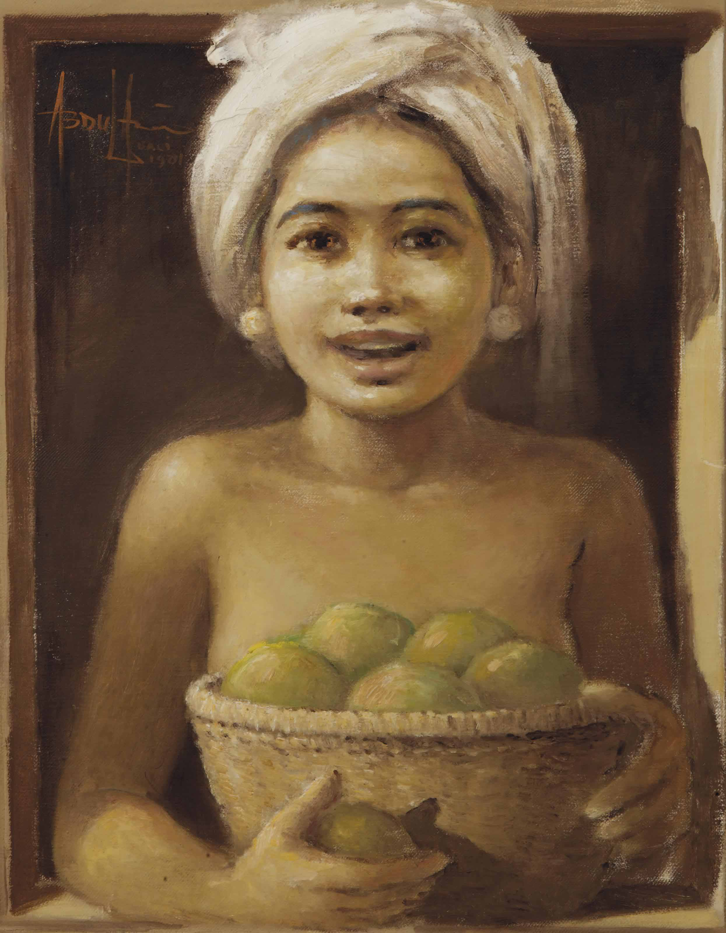 Balinese girl with a basket of fruits