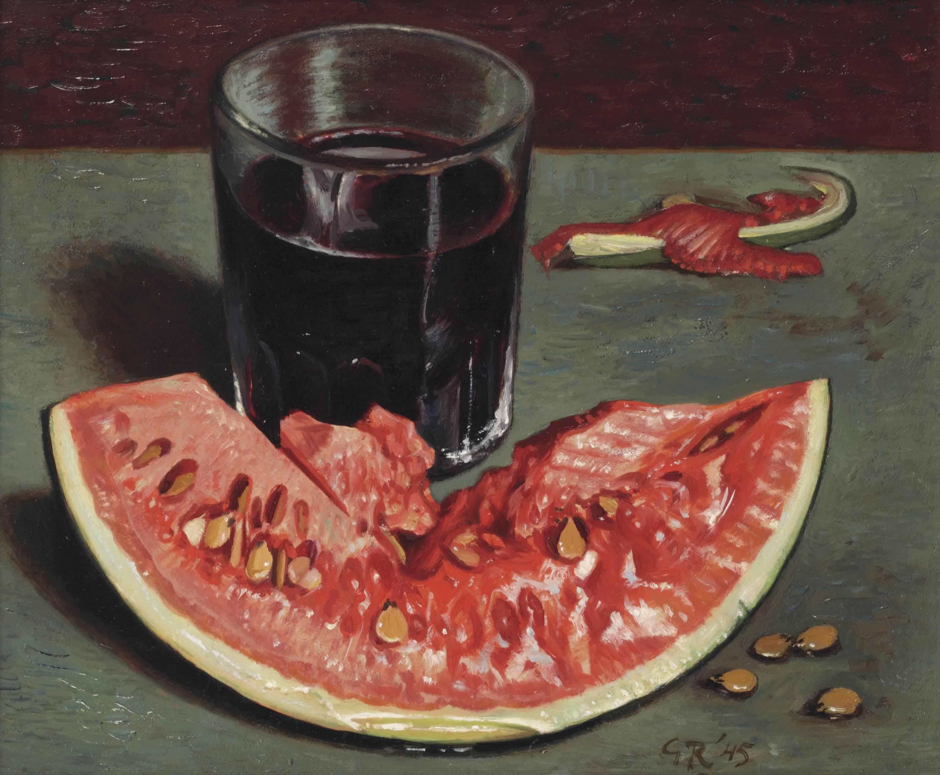 A still life with watermelon