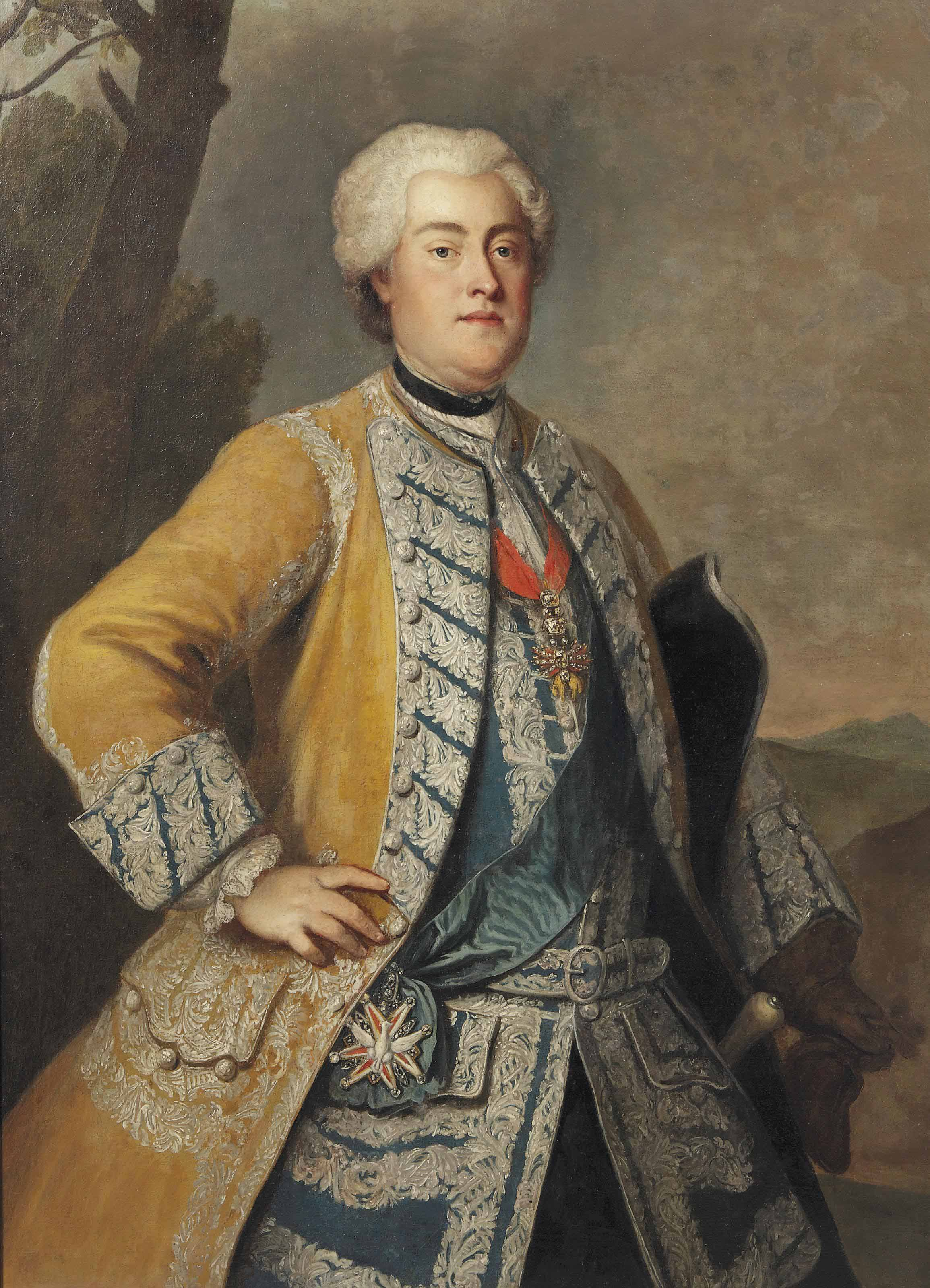 Portrait of King Augustus III of Poland, Frederick August II of Saxony (1696-1763), three-quarter-length, with the Order of the Golden Fleece and the Order of the White Eagle, standing in a landscape