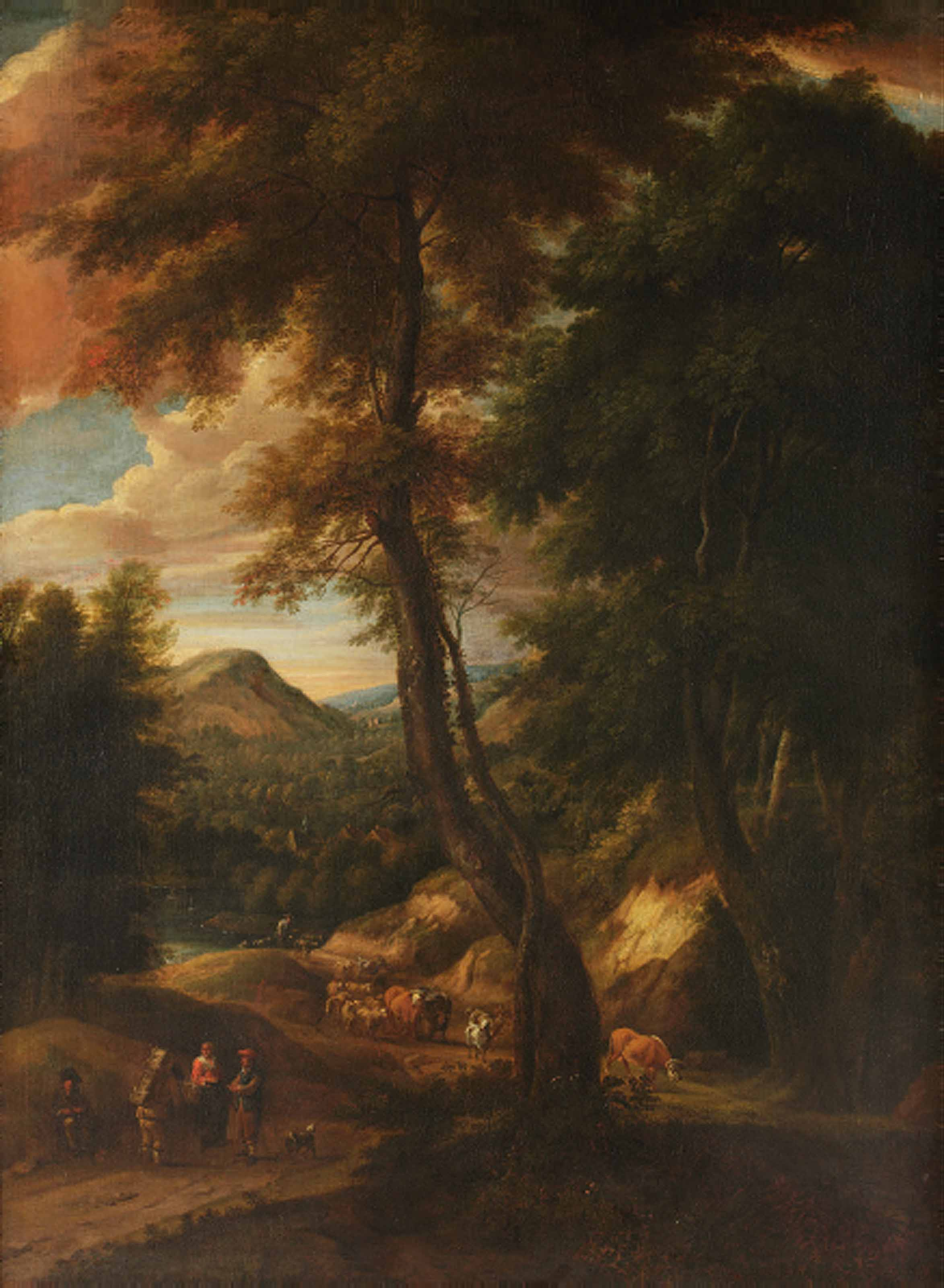A hillside forest landscape with travellers and cattle on a path