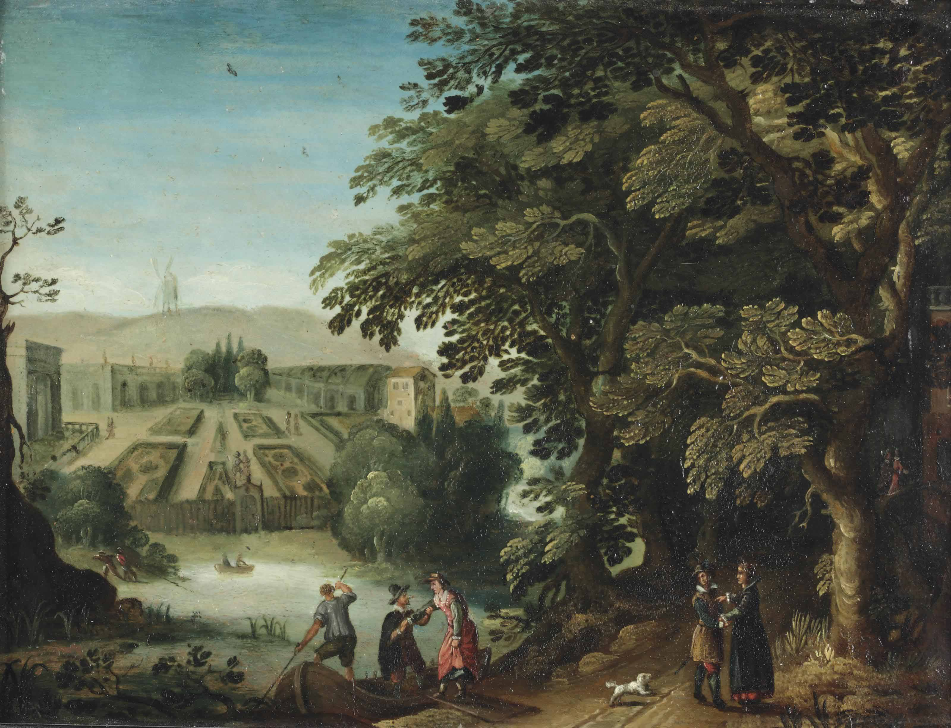 An elegant company strolling through a woodland park, a lake and a formal garden beyond