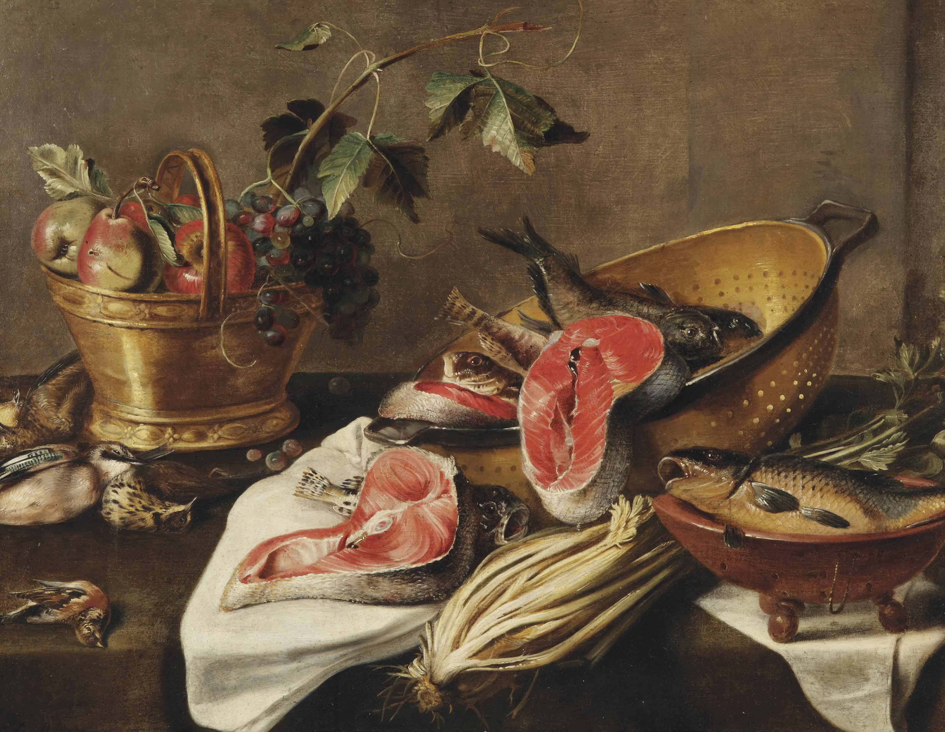 A copper basket with apples, grapes, a Eurasian jay, a thrush and a bullfinch, salmon and various other fish in a colander, a stump of celery, all on a draped table