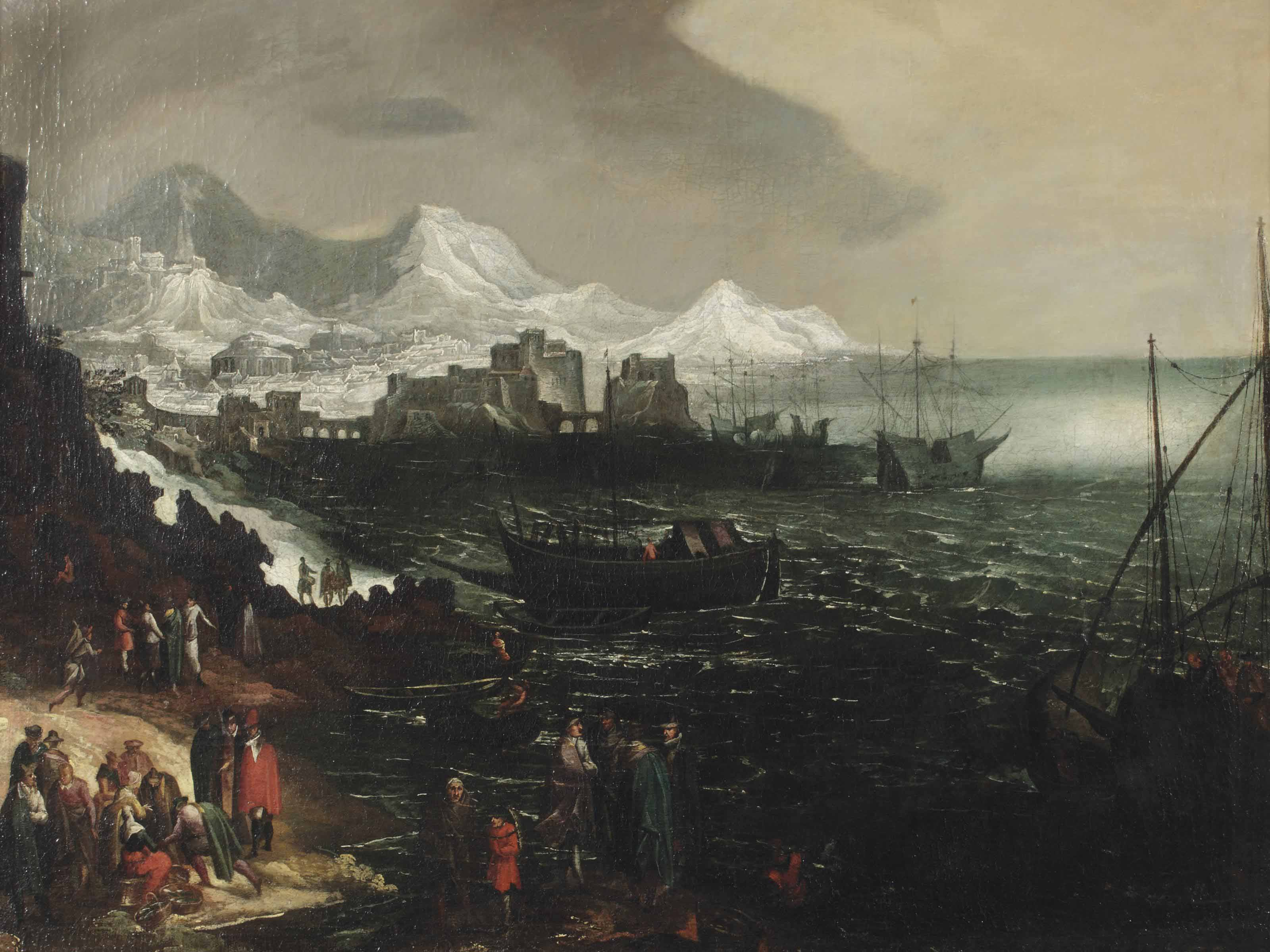 A Mediteranean seascape with shipping and figures along the coast, a harbour and a mountainous village beyond