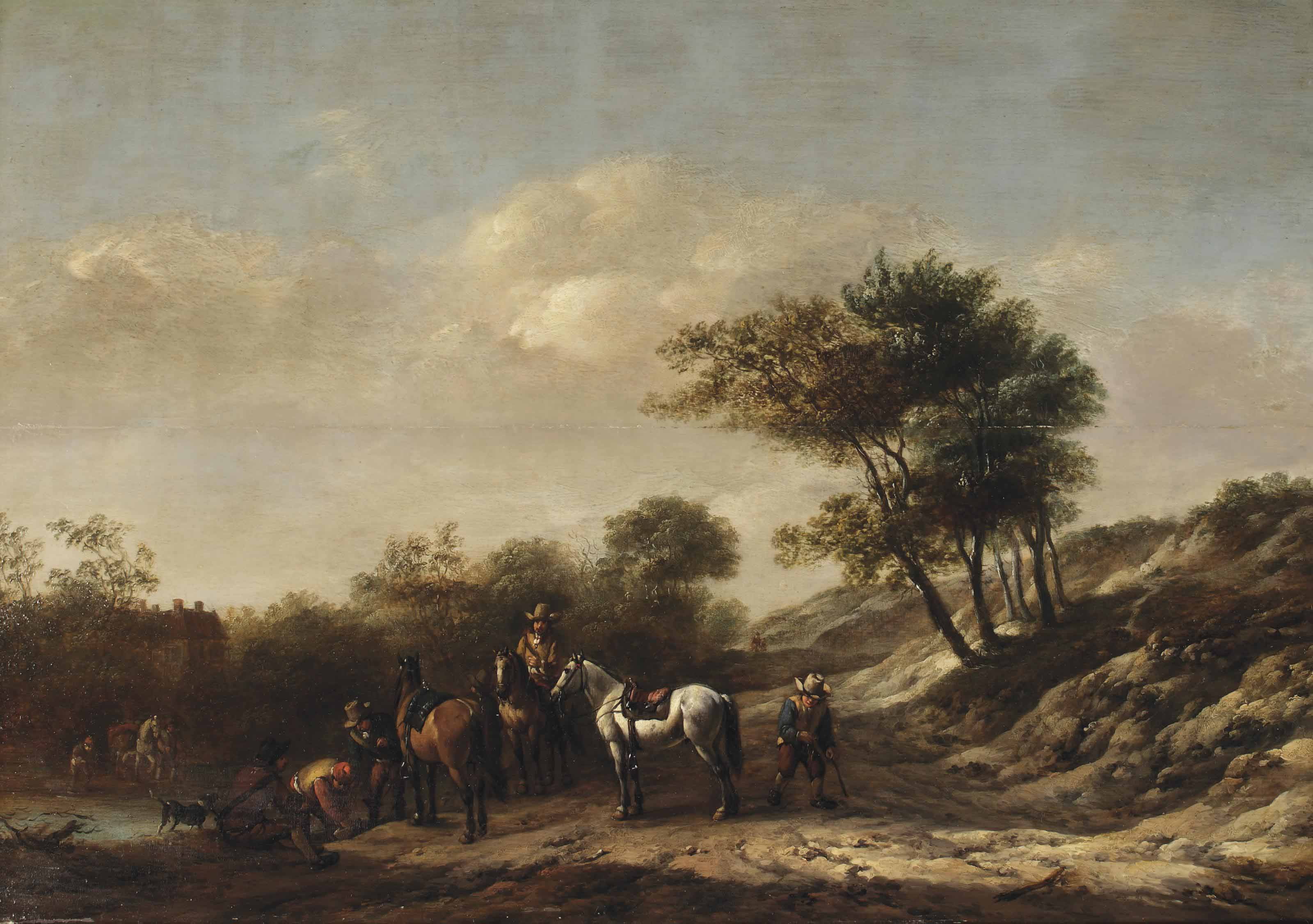 A landscape with riders and travellers by a river