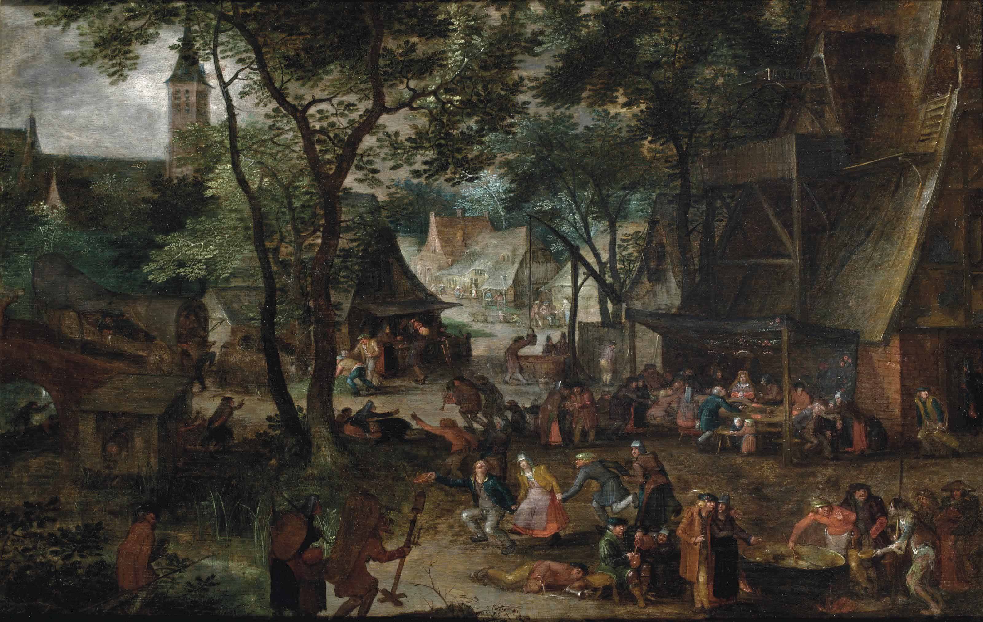 A wedding banquet in a village with peasants making merry