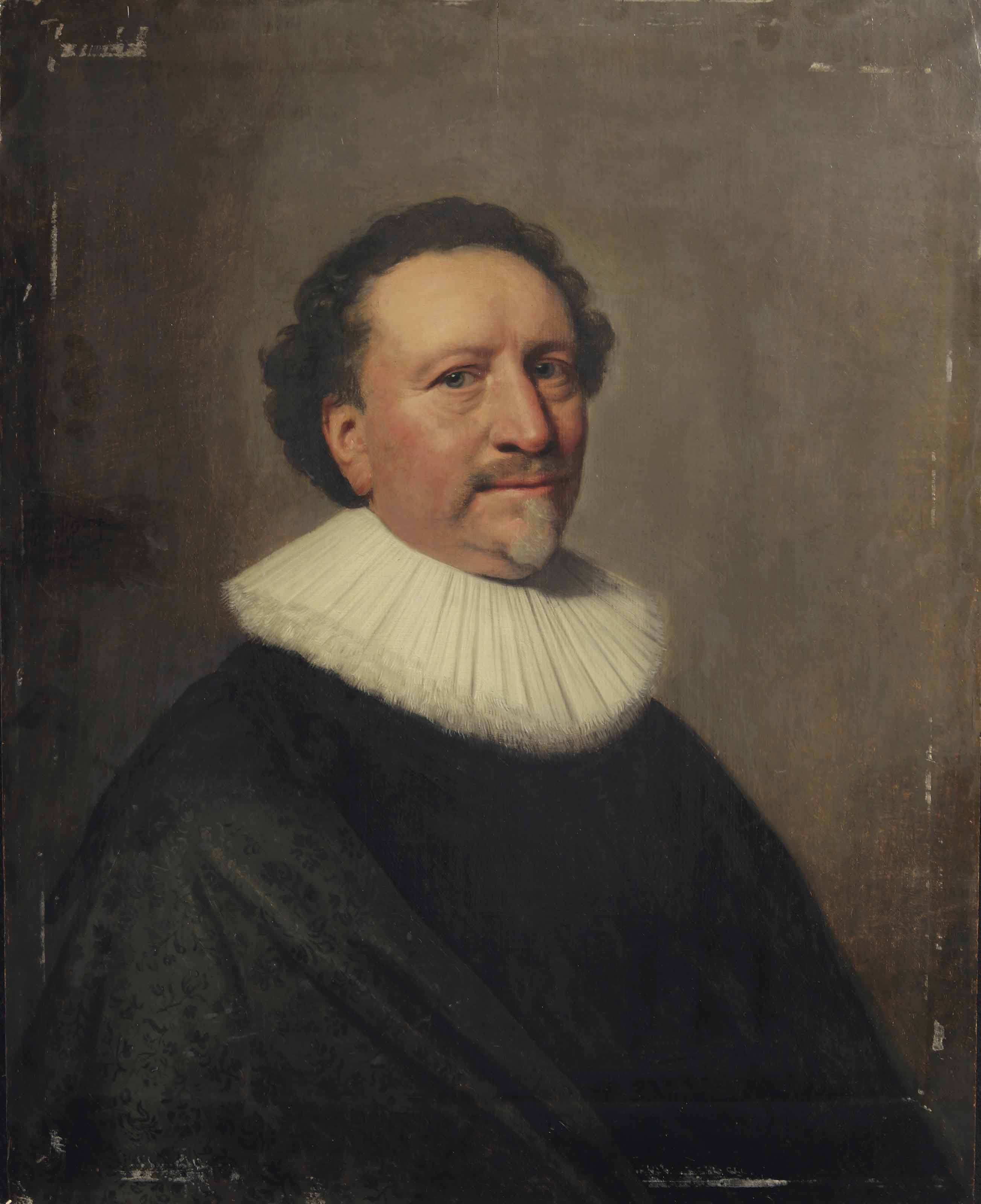 Portrait of a gentleman, bust-length, in a black costume with a white lace collar
