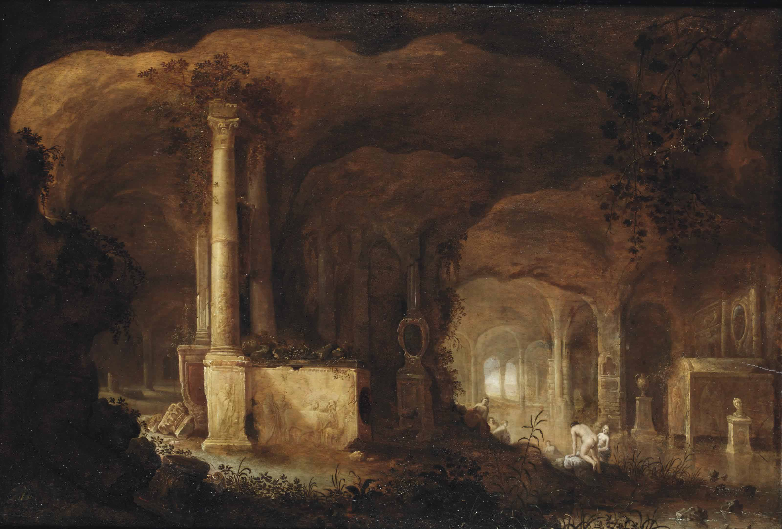 A grotto with bathing women