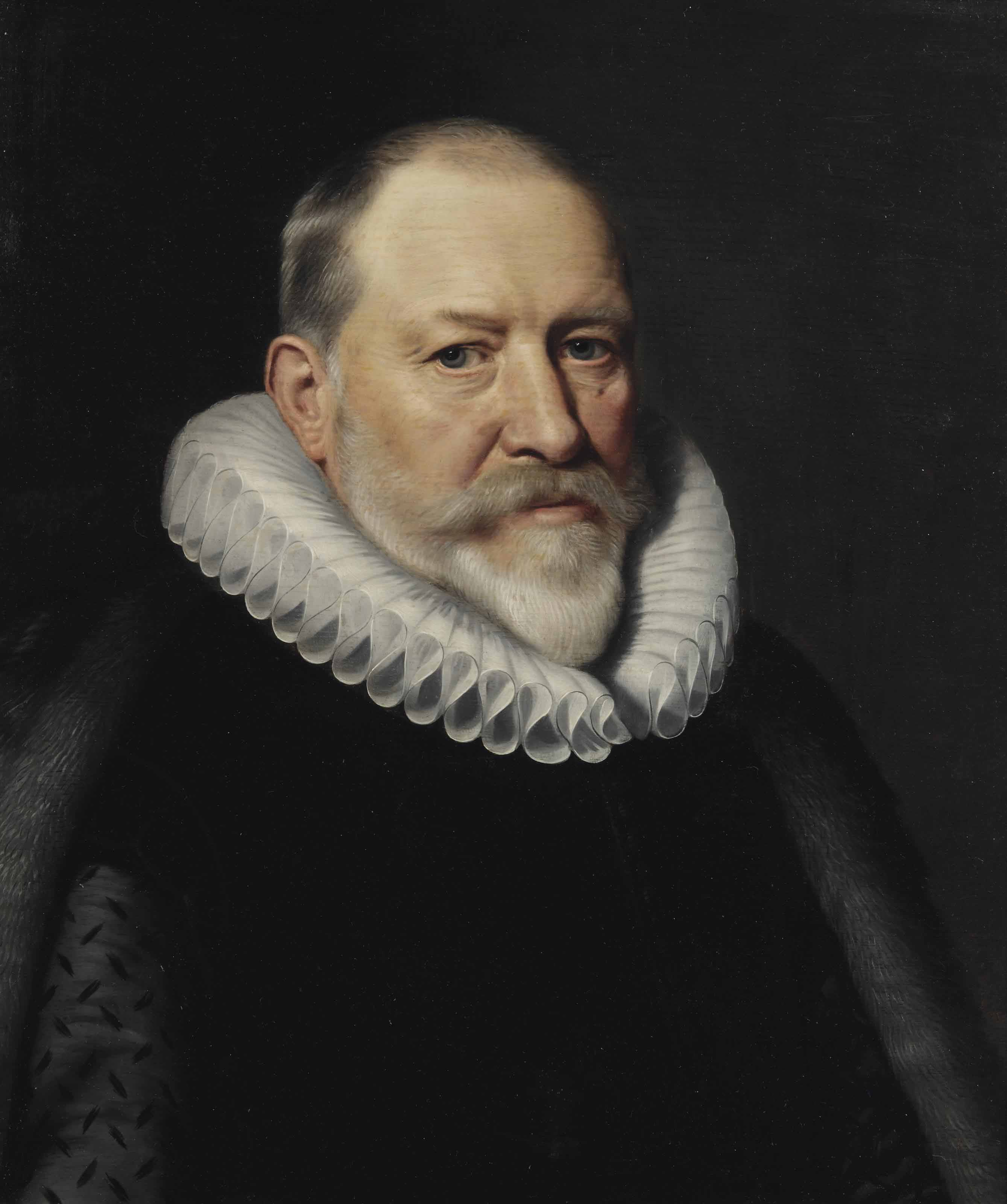 Portrait of Maerten Ruychaver (1545-1626), Burgomaster of Haarlem, bust-length, in a black costume with a 'millstone' ruff and a fur mantle