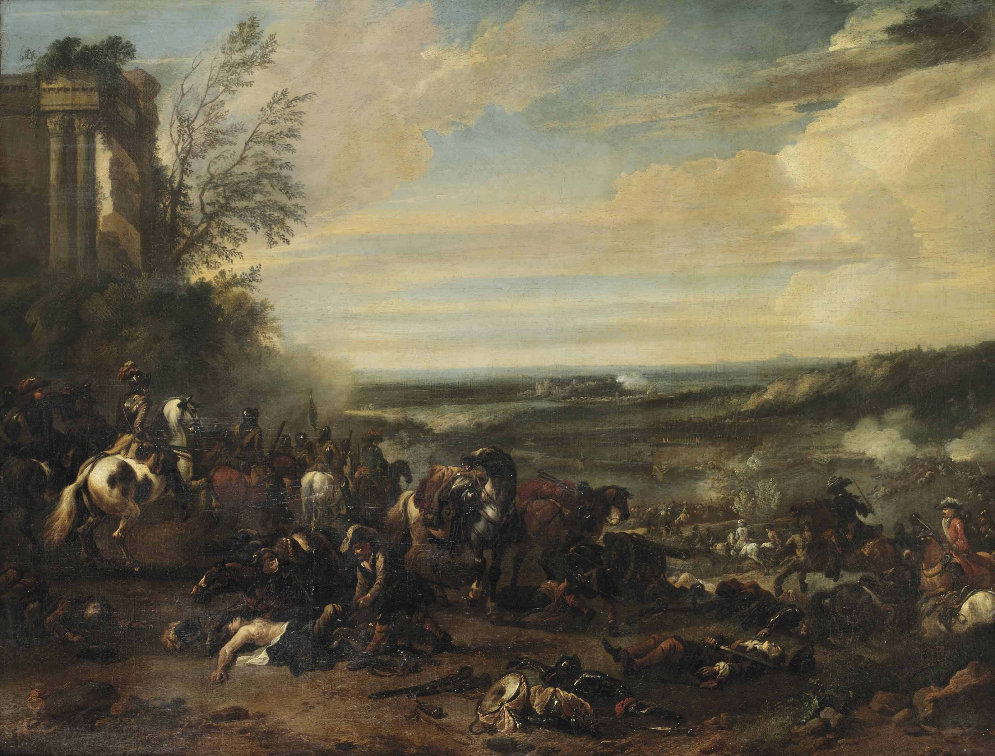 A battle scene with a sieged town beyond
