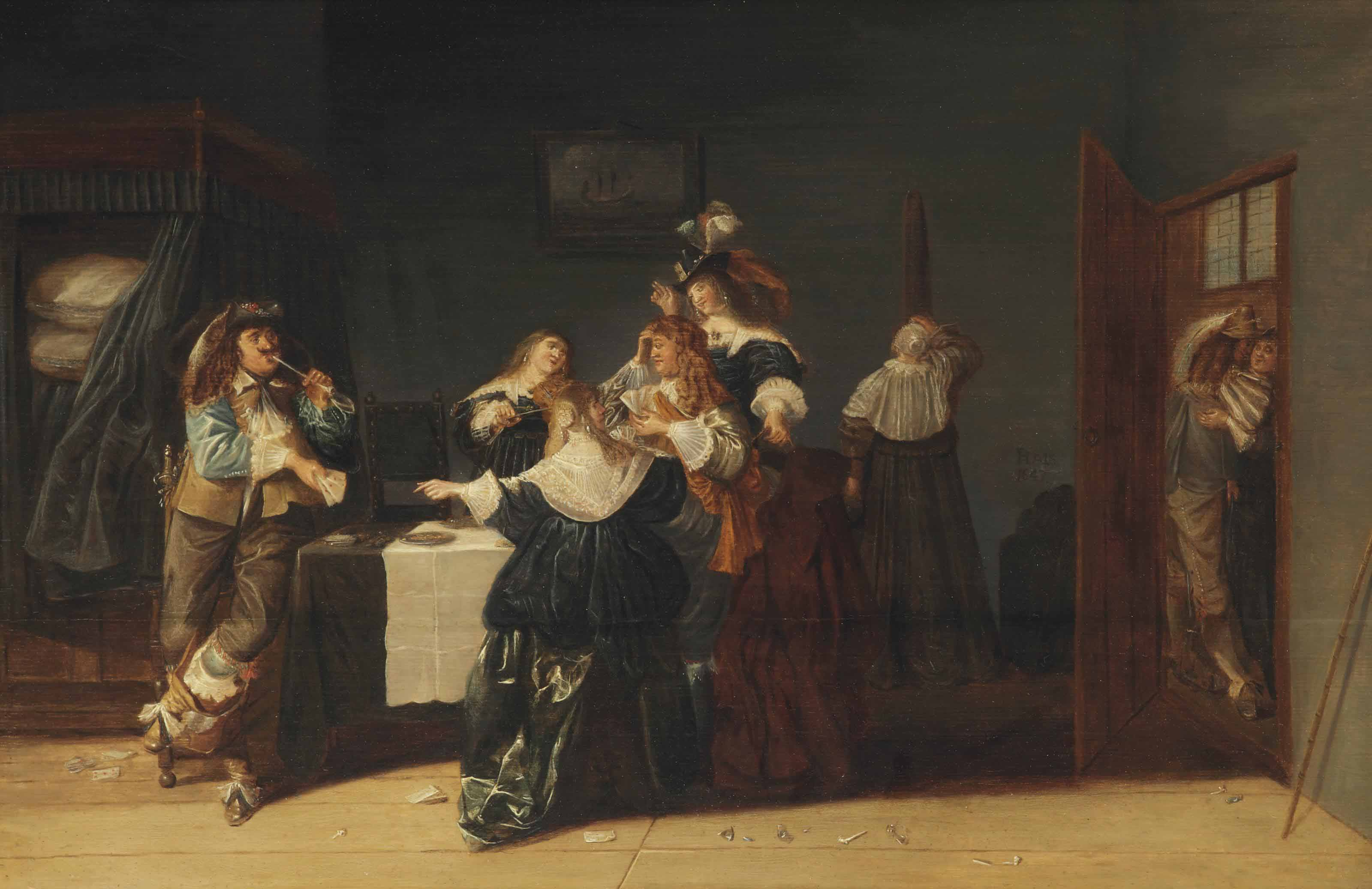 A musical party in an interior
