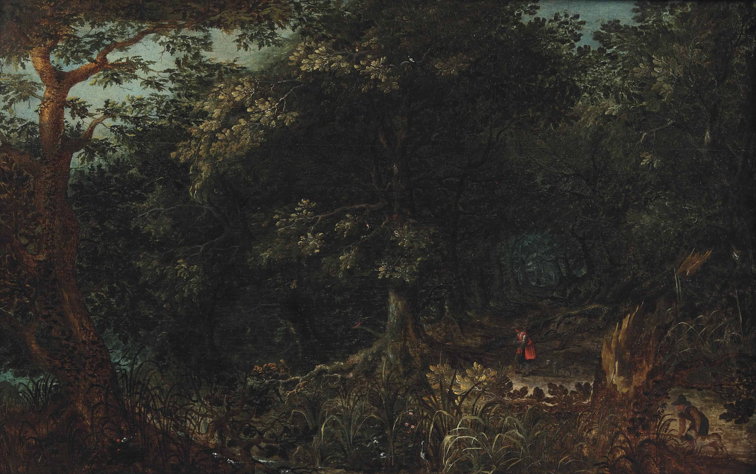 A wooded landscape with hunters on a path