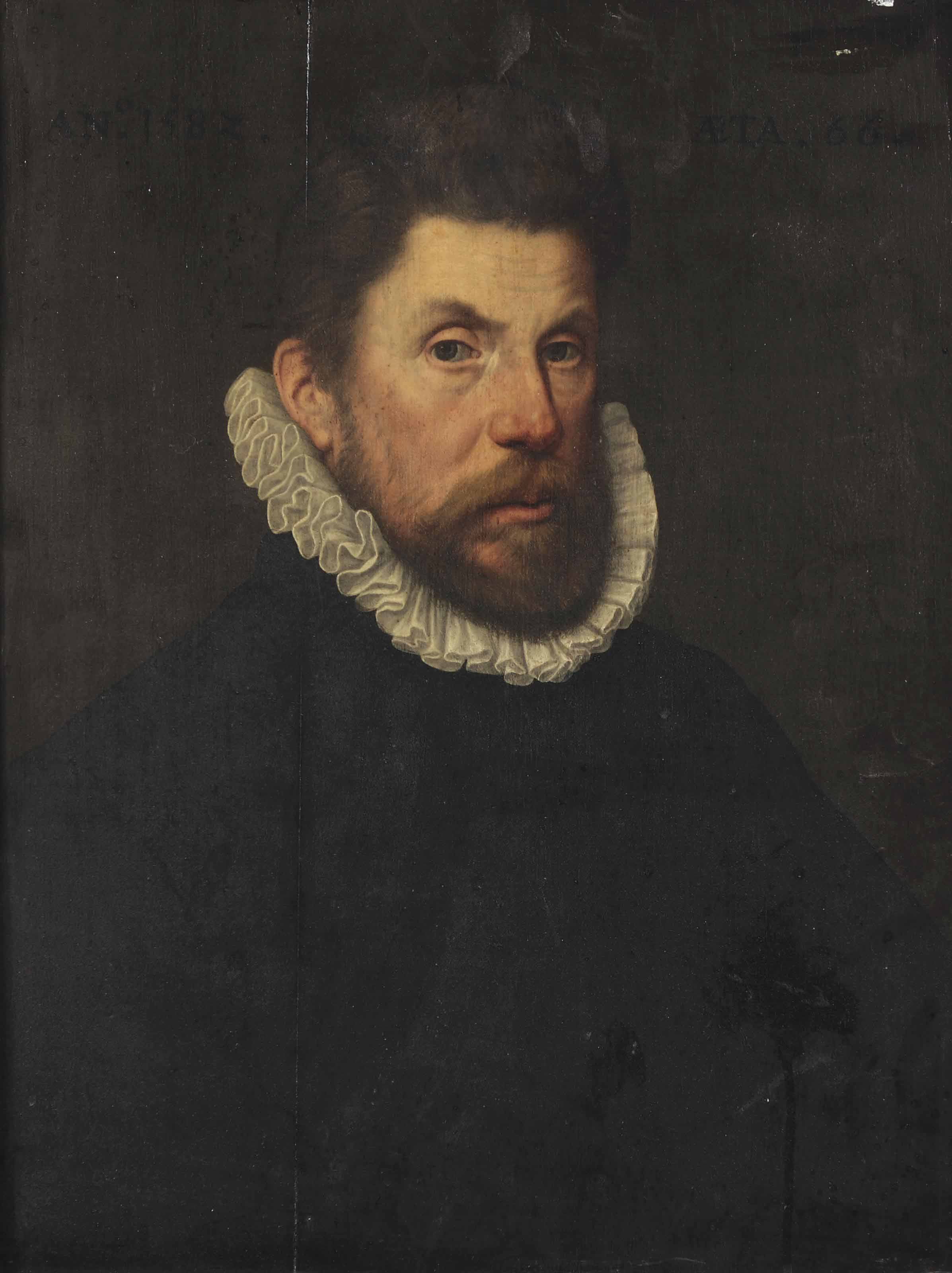 Portrait of a gentleman, half-length, in a black suit with a white ruff