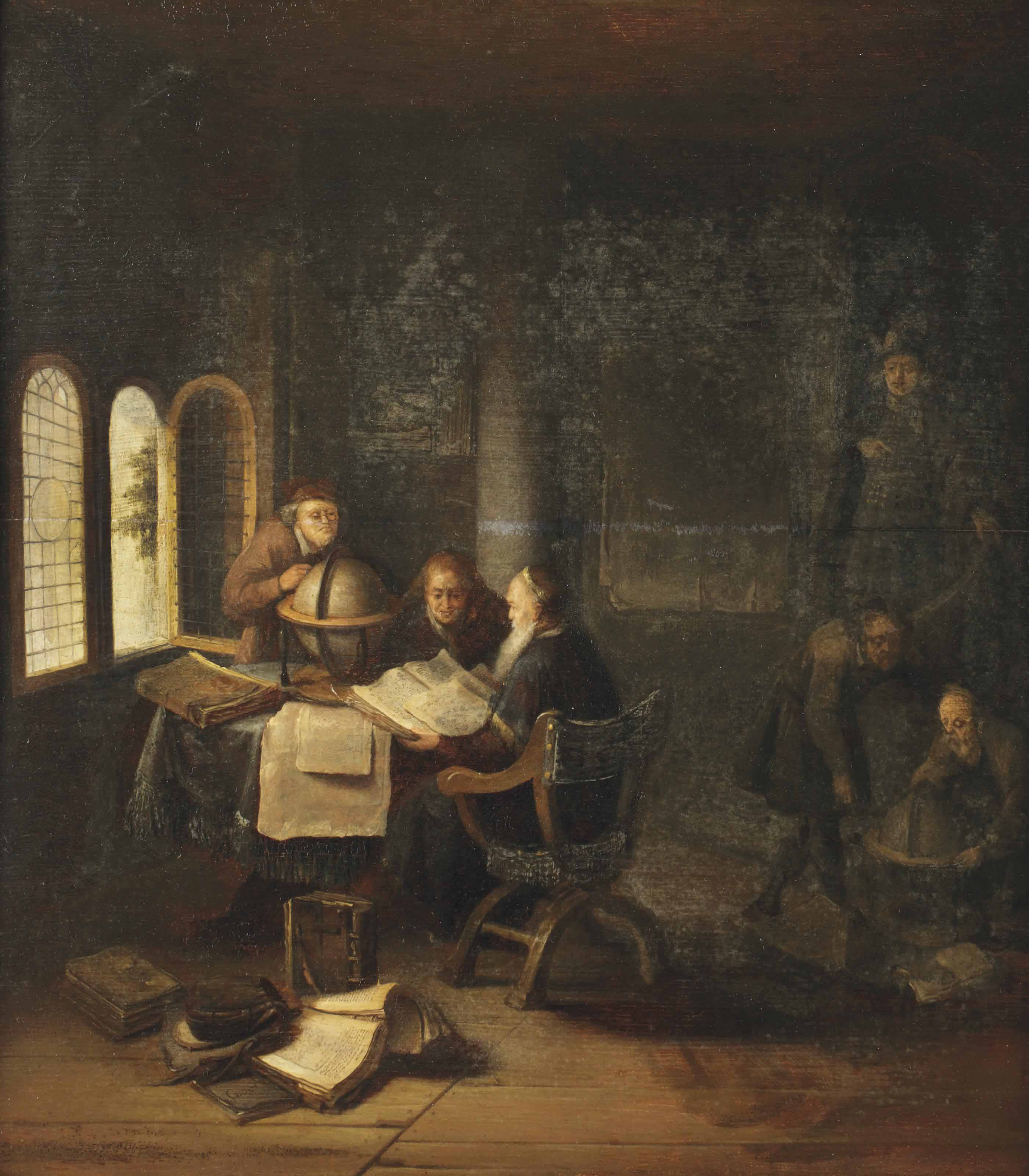 Scholars in a study with books and globes