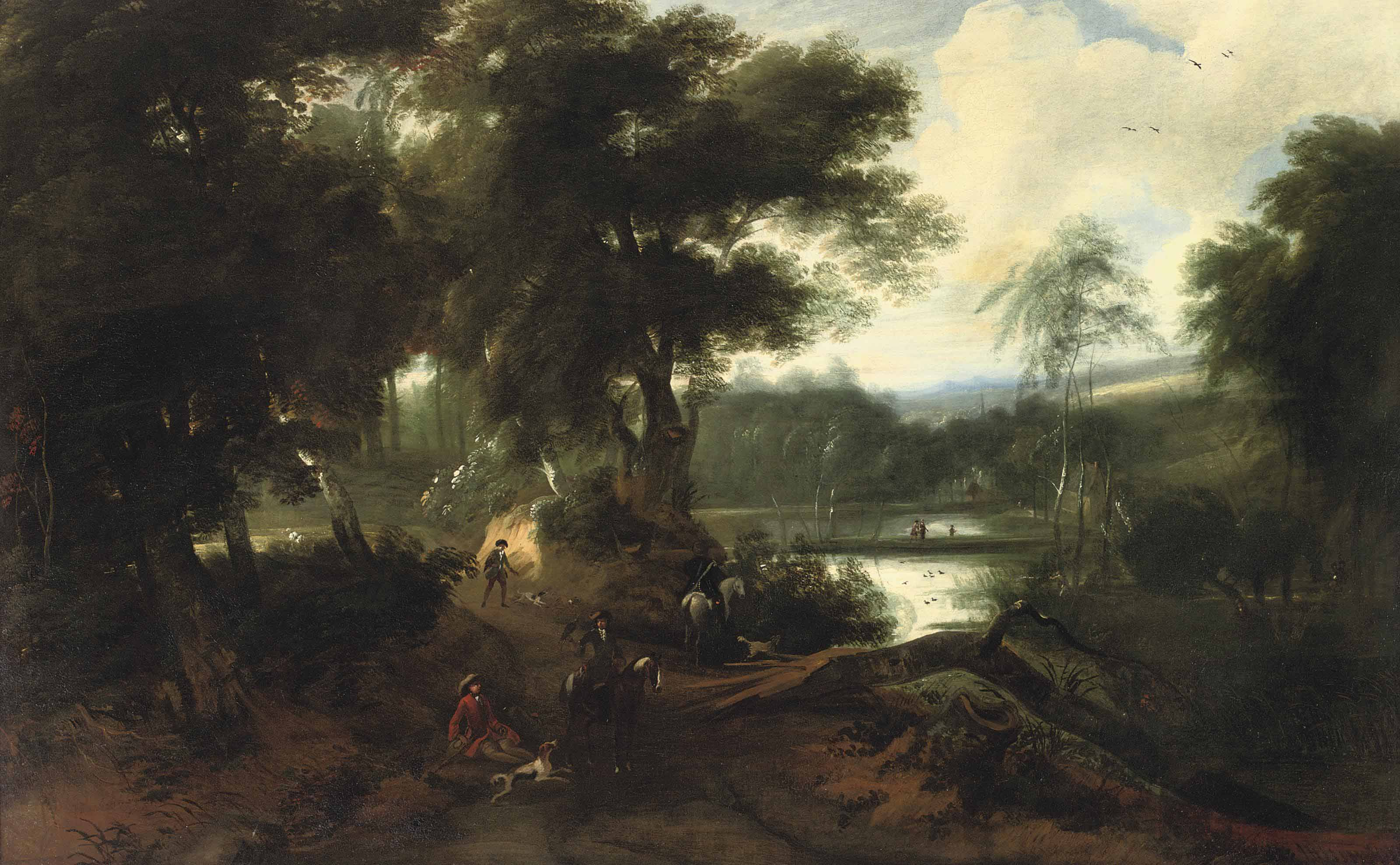 A wooded landscape with a hunting company resting near a pond