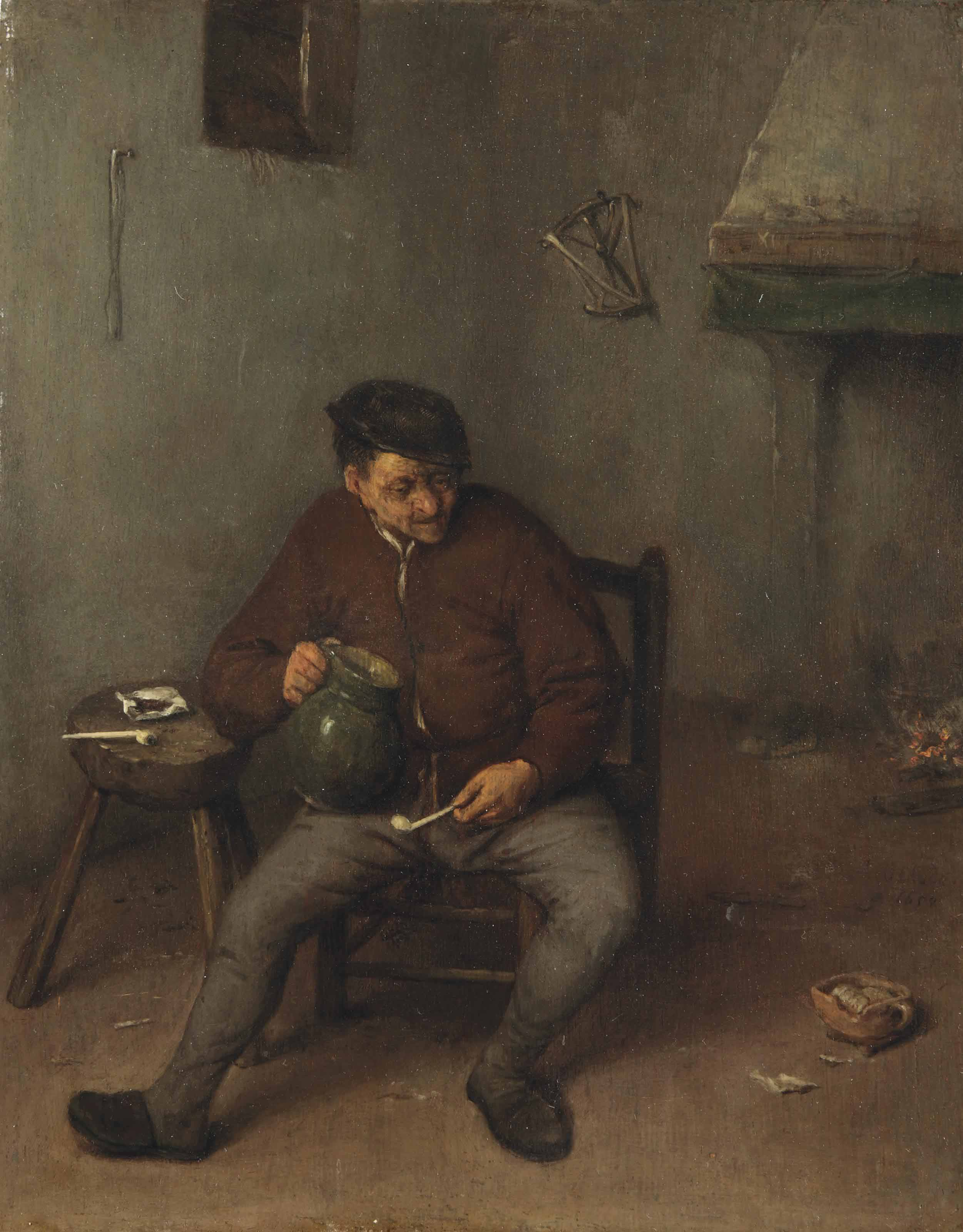 A peasant smoking a pipe in an interior