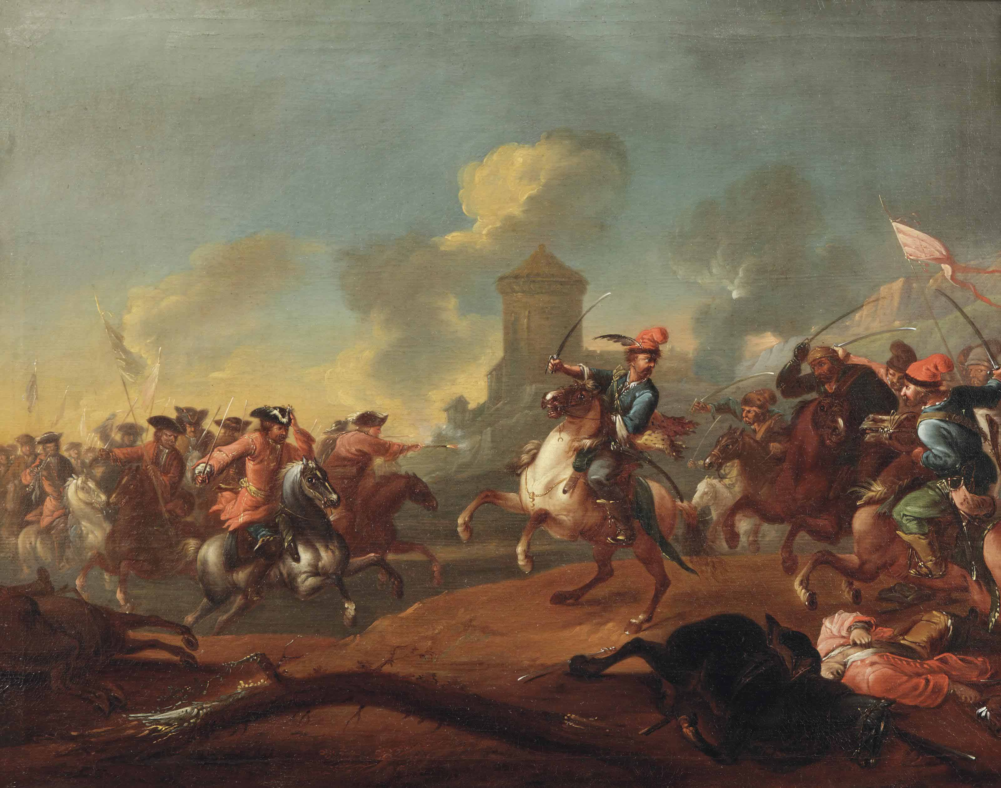 A cavalry skirmish, with a city in the distance