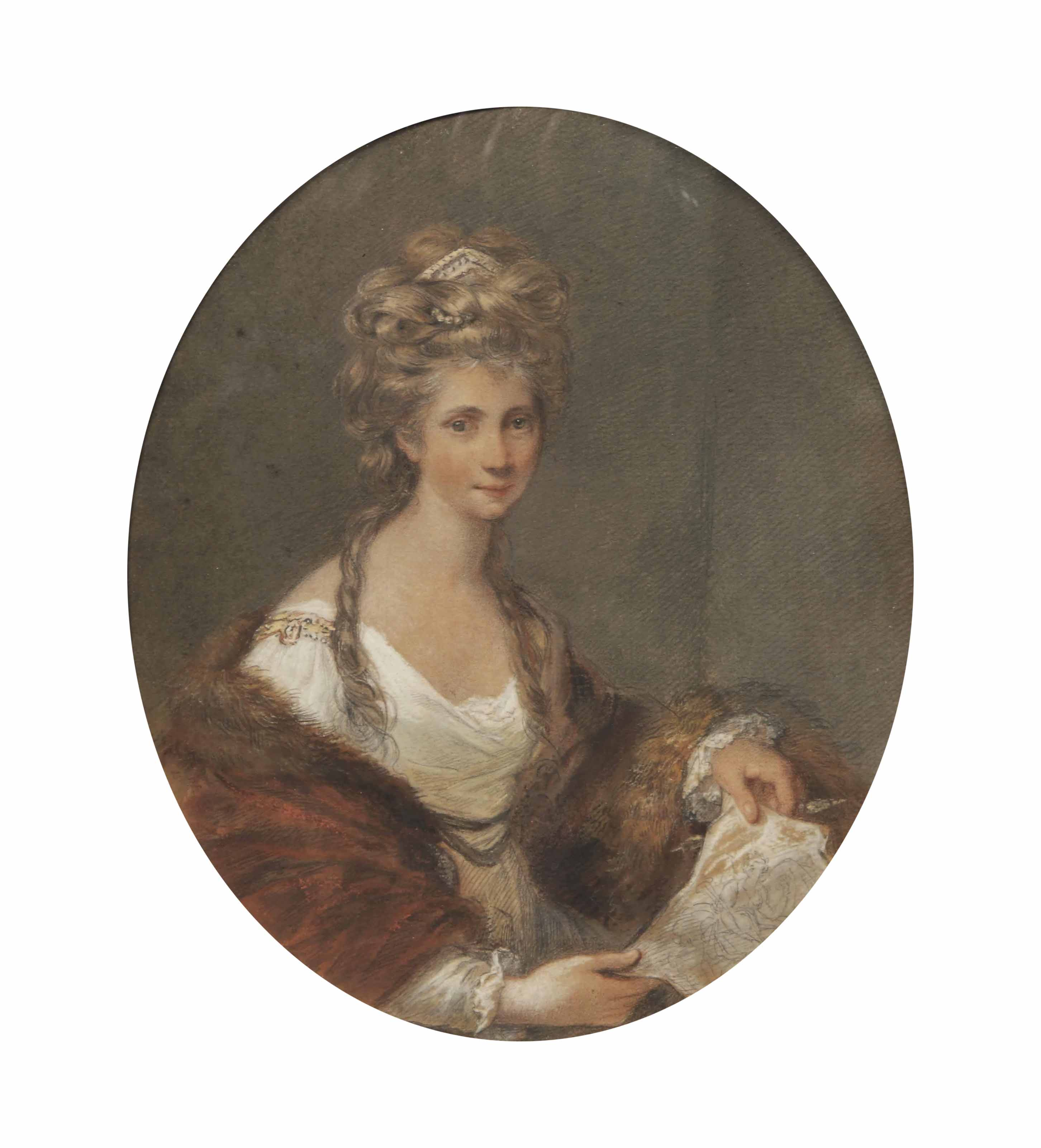 Portrait of Angelica Kauffmann, half-length, in a white dress with a red, fur-lined mantle, holding a sketch