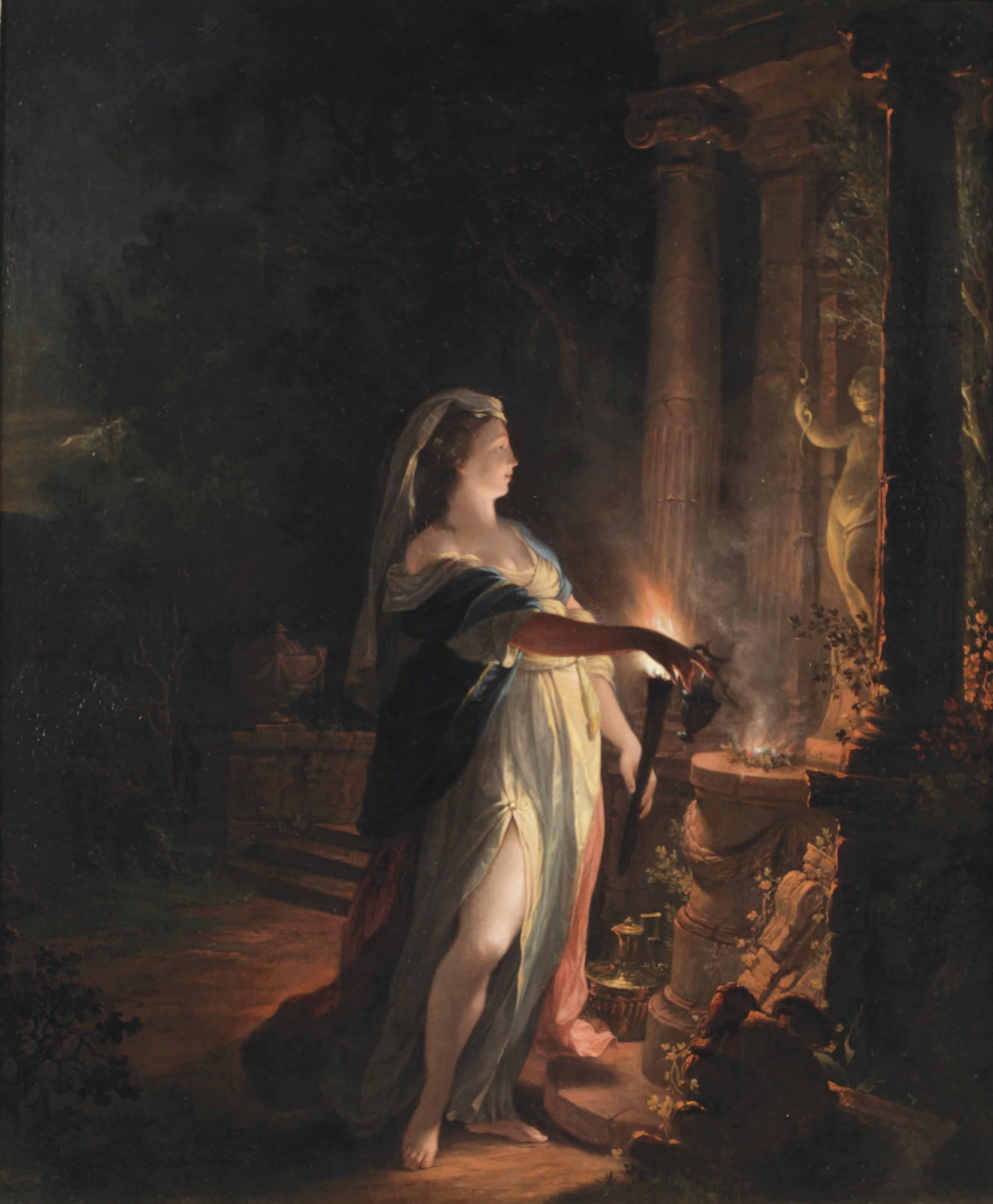 A lady making an offering to Cupid at night