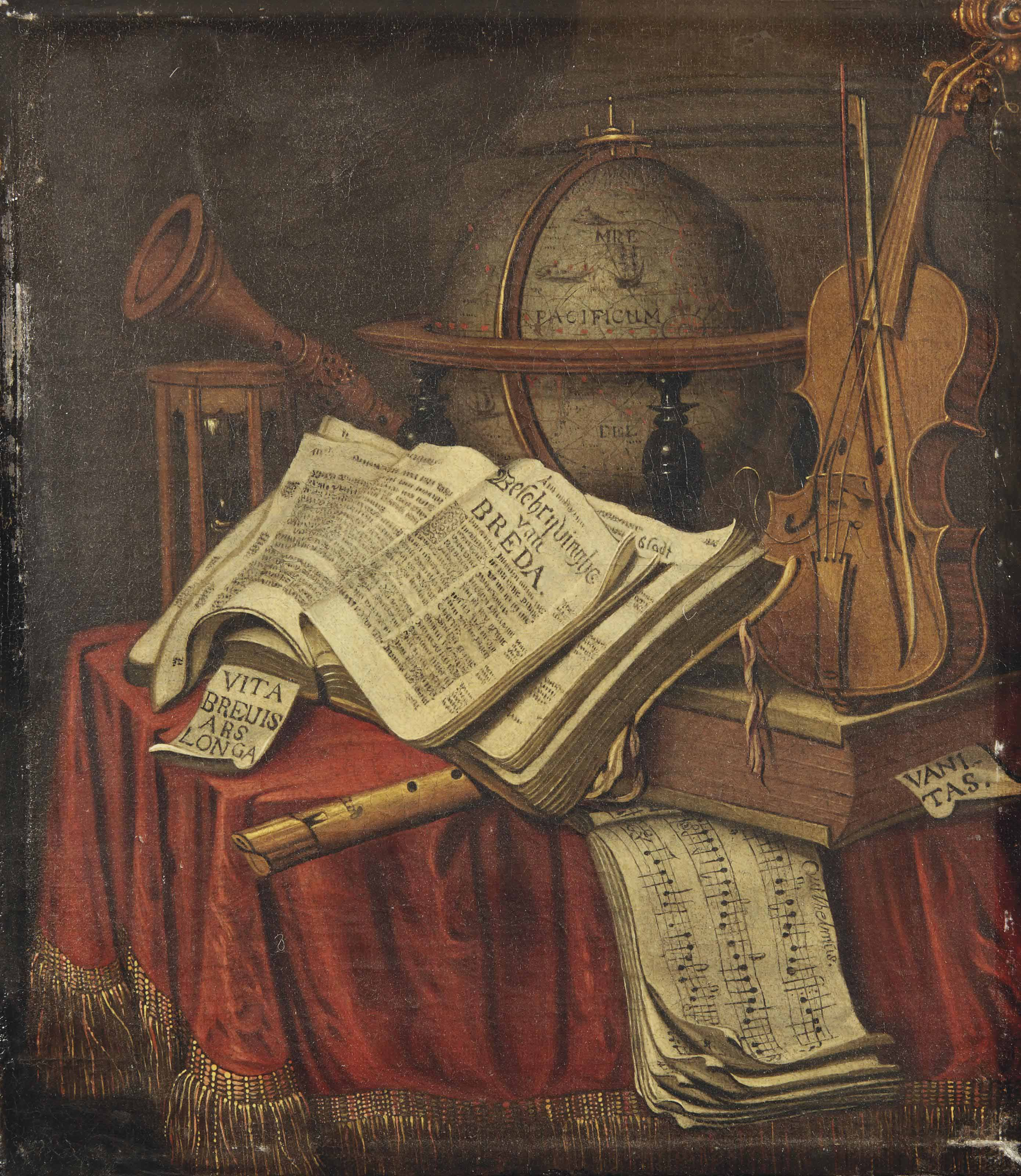 A Vanitas still life with a globe, musical instruments, an hourglass, an open copy of 'Beschrijvinghe van Breda' and sheet music of the 'Wilhelmus', all on a draped table