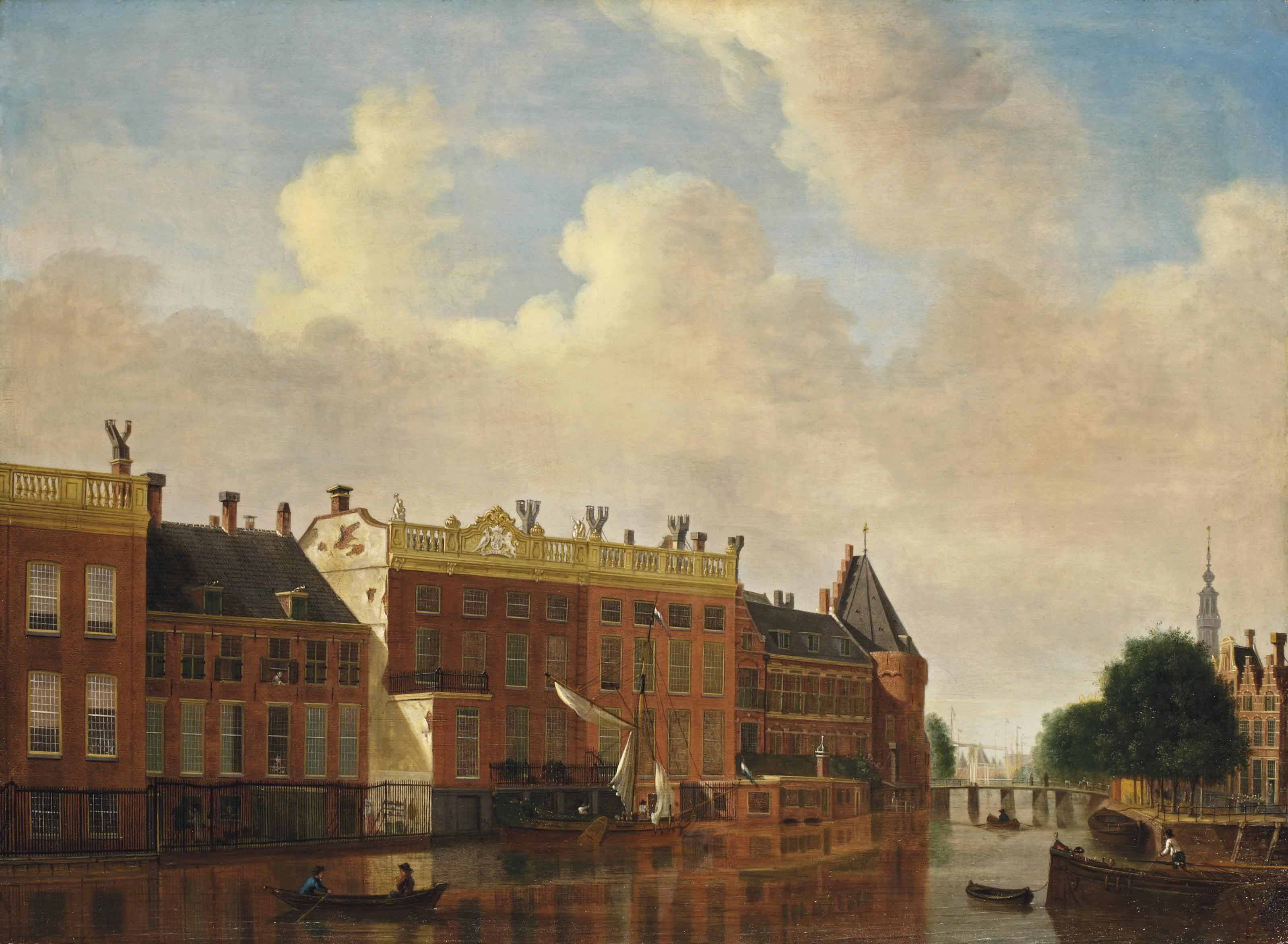 A view from the Binnen-Amstel towards the Kloveniersburgwal, Amsterdam