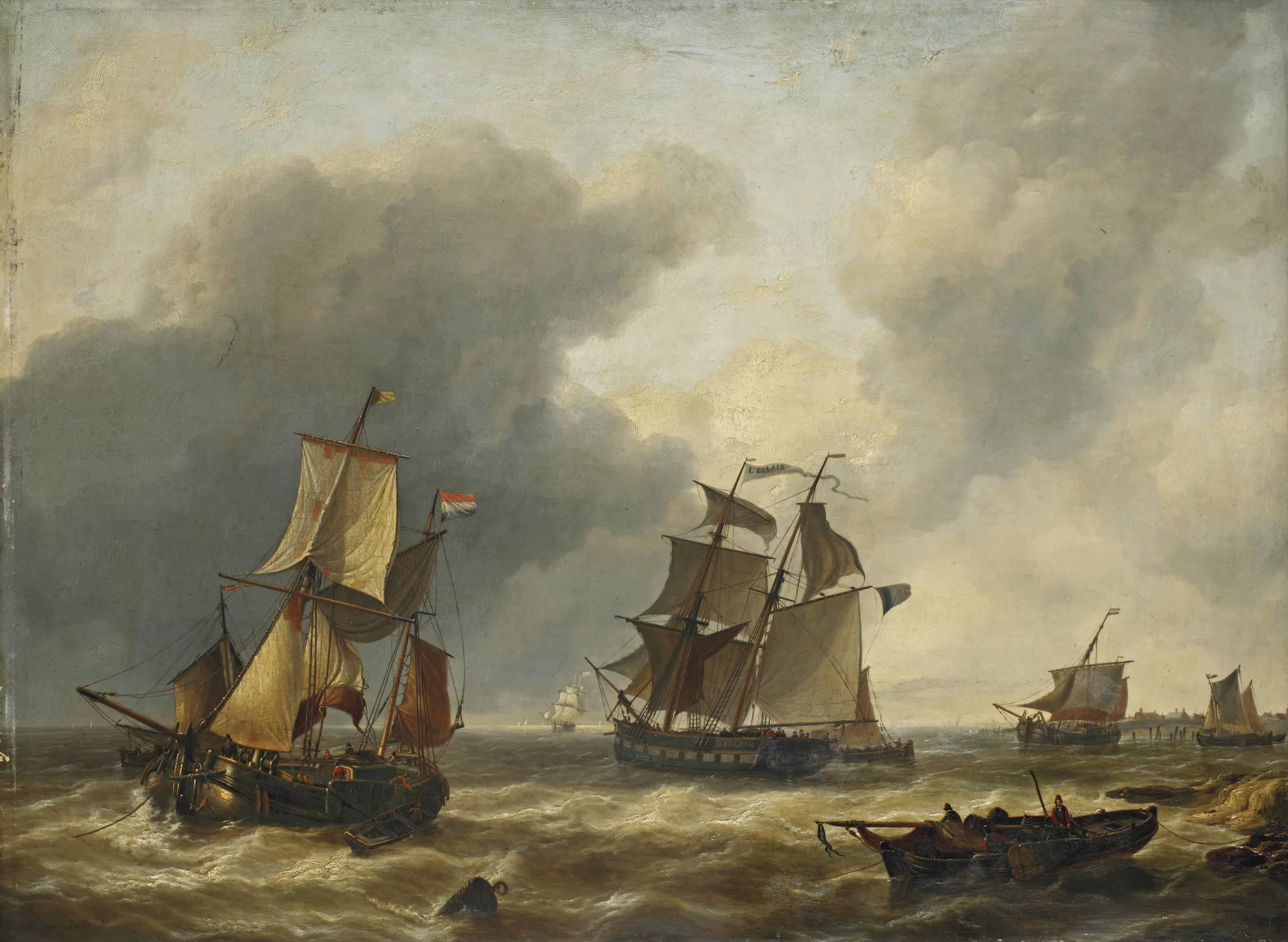 The ship 'L'eclair' together with Dutch sailing vessels at sea, a town in the distance