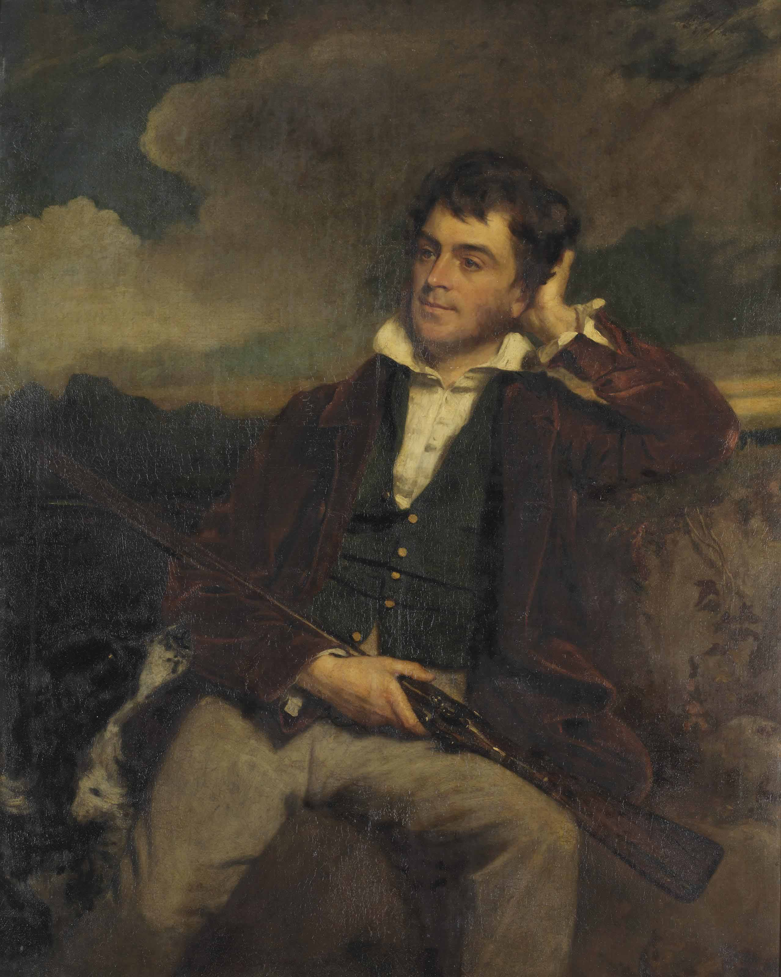 Portrait of a gentleman in a landscape, with a shotgun and a Springer Spaniel at his side