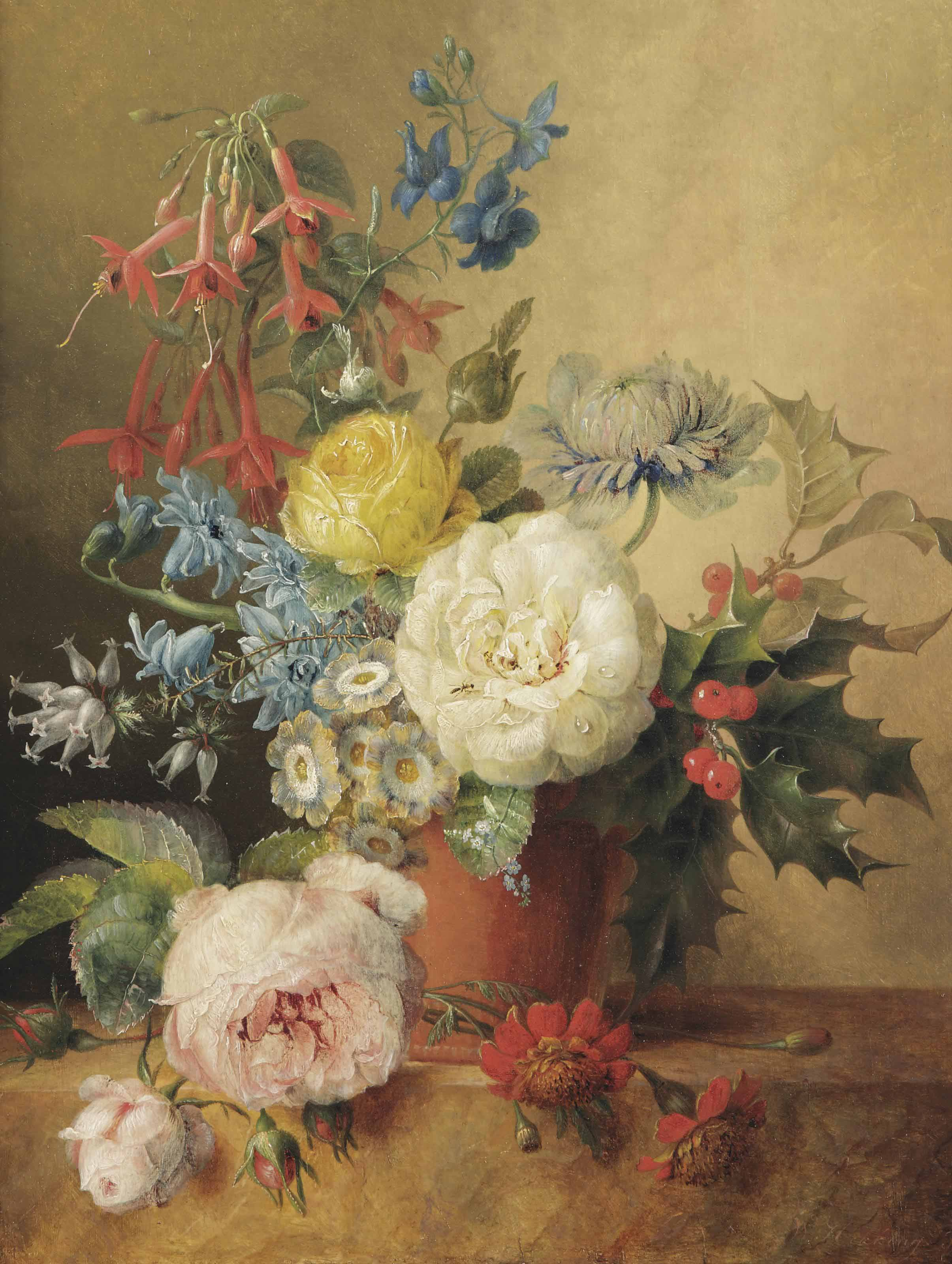 A fuchsia, roses, chrysantheum, holly and other flowers in a terra cotta vase, on a marble ledge