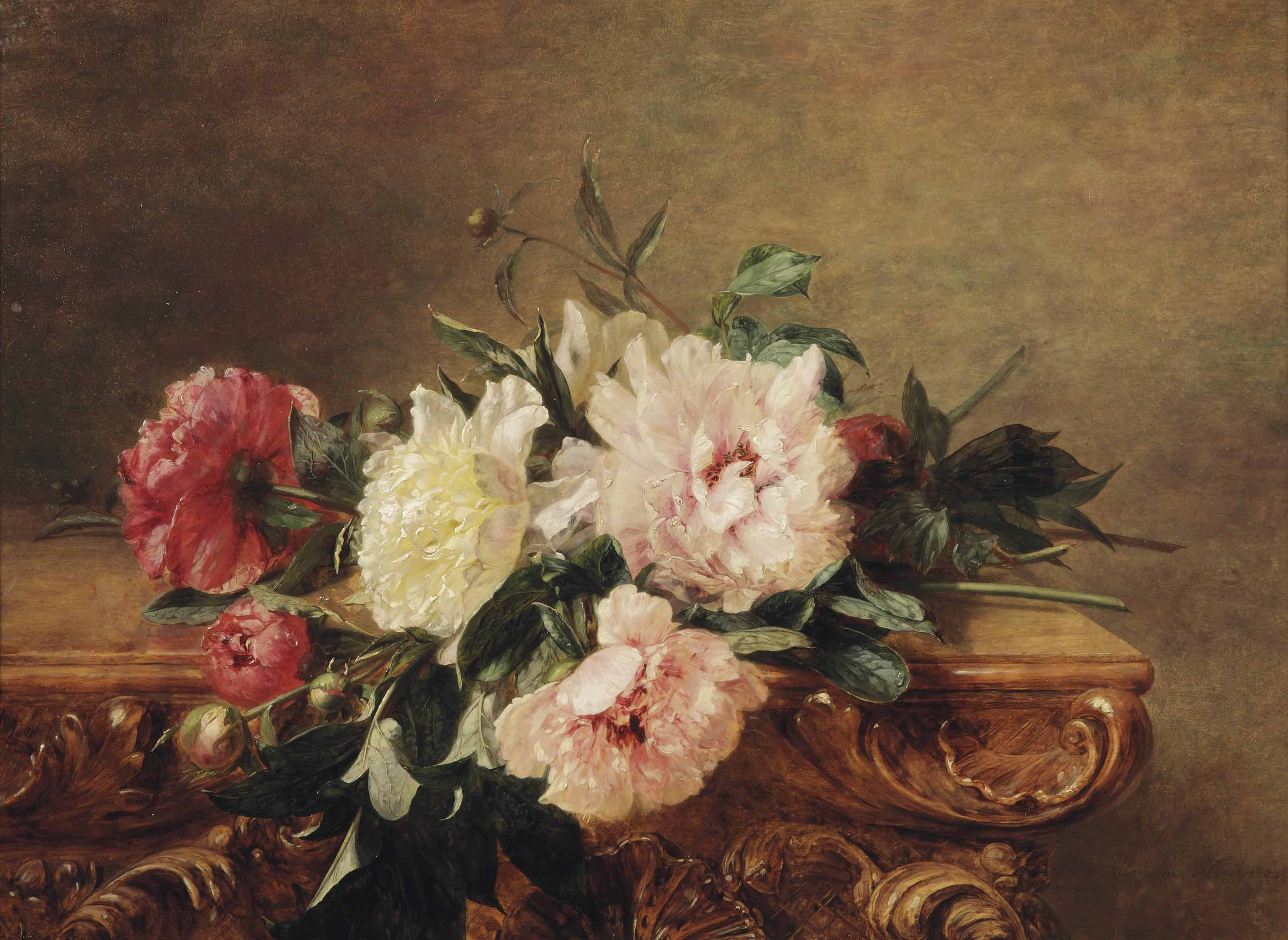 Red, white and pink peonies on a decorated marble ledge