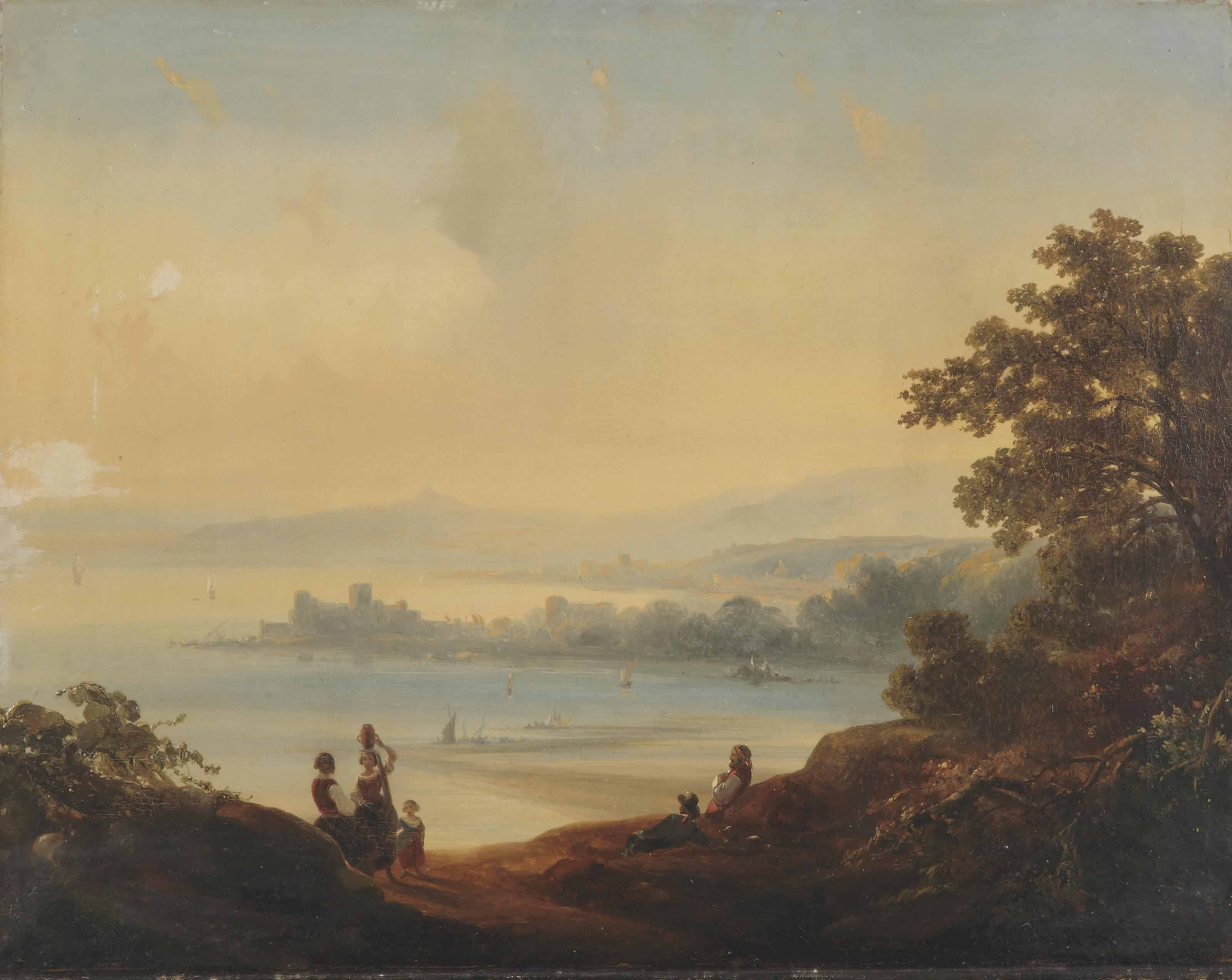 An Italianate landscape with a capriccio view of a bay of Napels