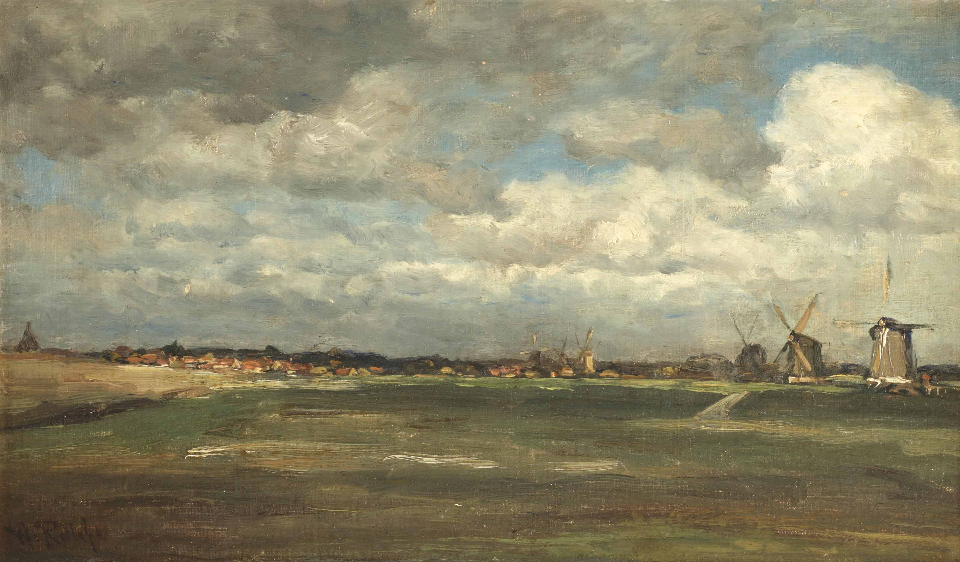 A polder landscape with mills near Rotterdam