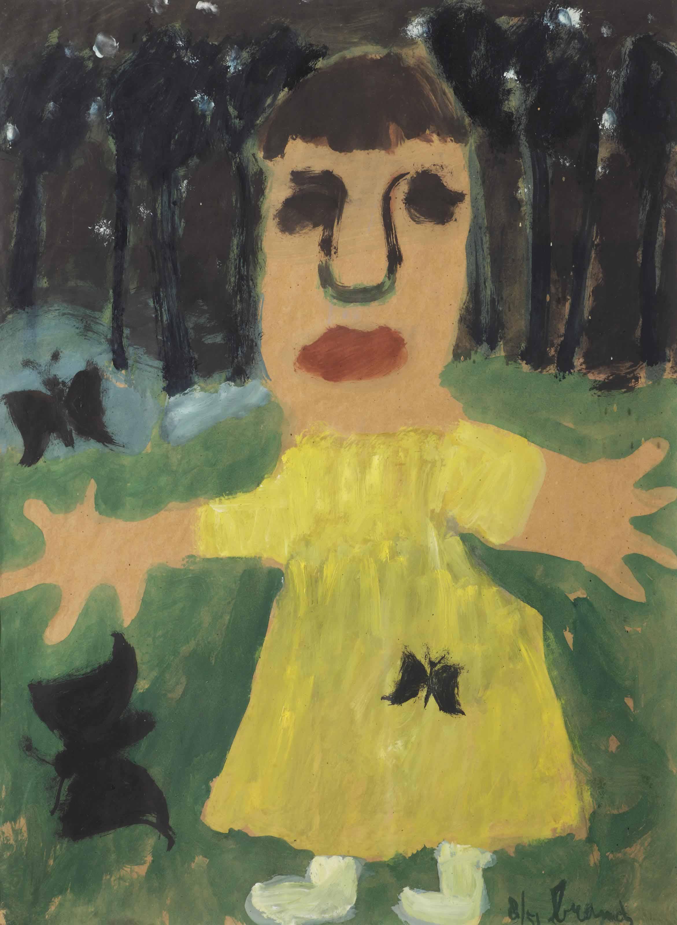 Meisje met zwarte vlinders