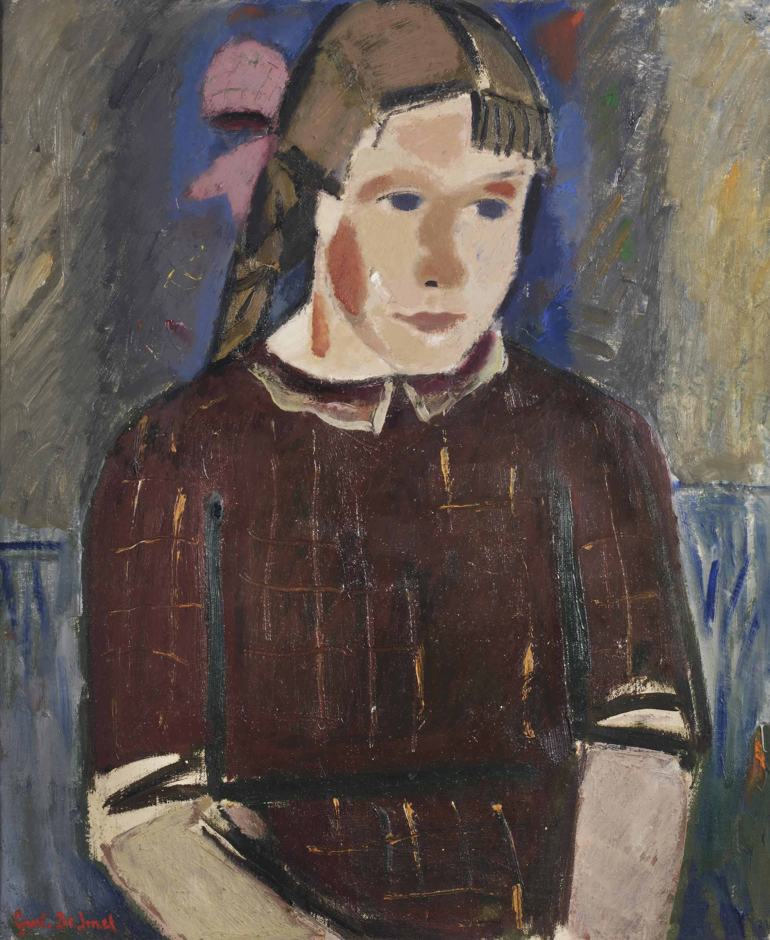 Girl with a pink ribbon