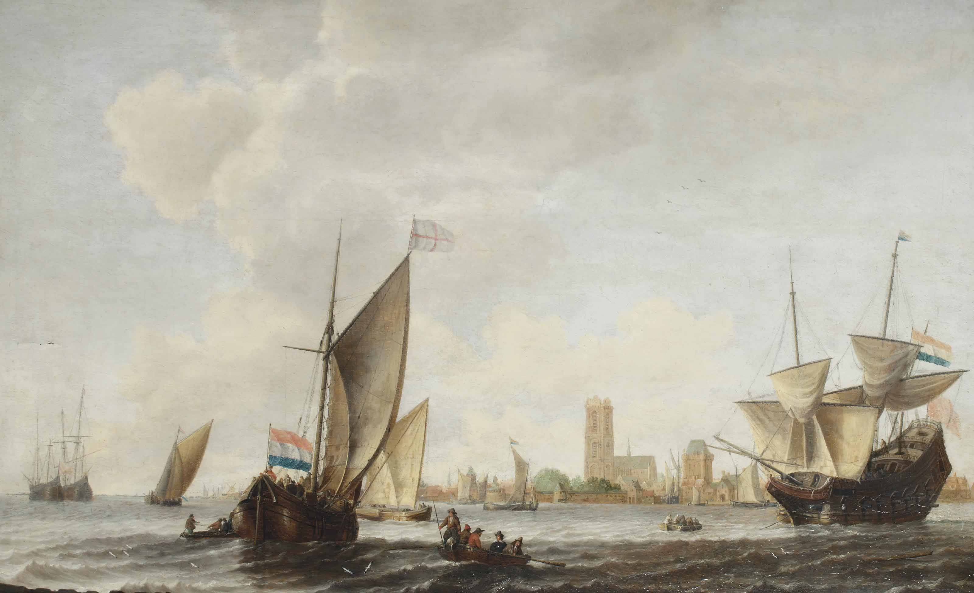 A Smallship, a Merchantman and other ships on the Merwede near Dordrecht