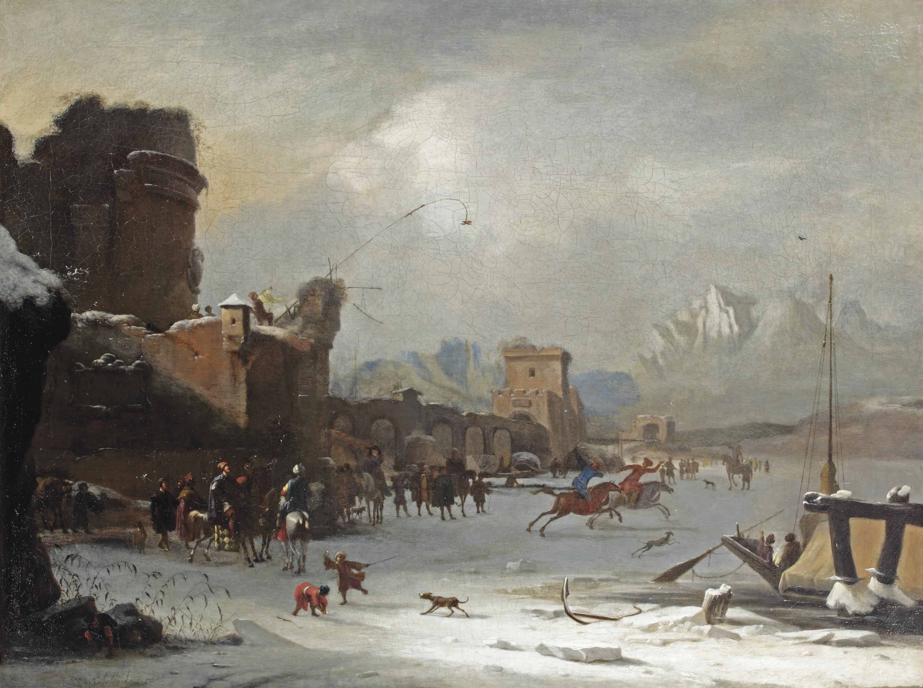 A winter landscape with horsemen racing and other figures on the frozen Tiber near the Ponte Molle, Rome