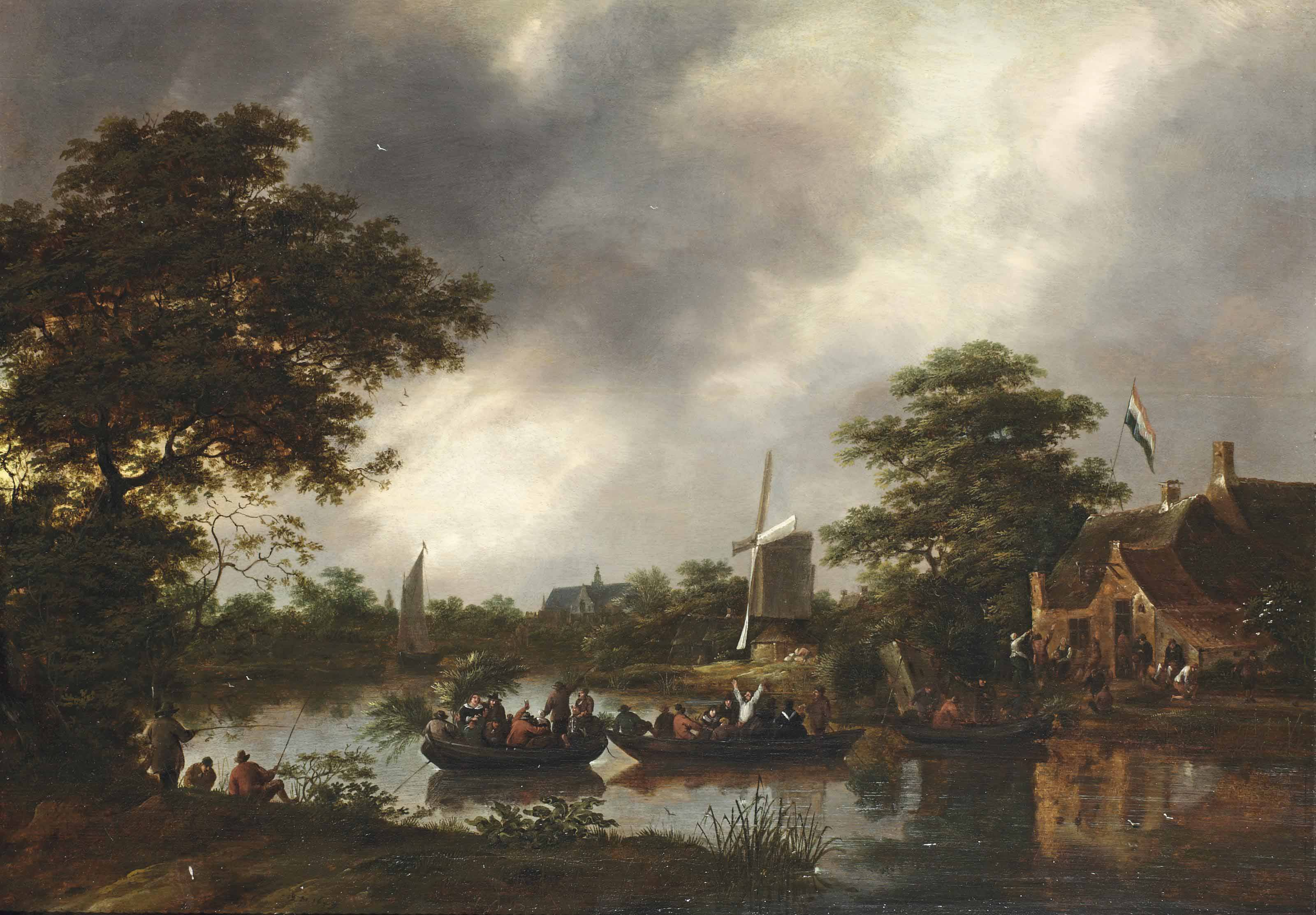 A river landscape with figures on ferryboats, leaving a carnival
