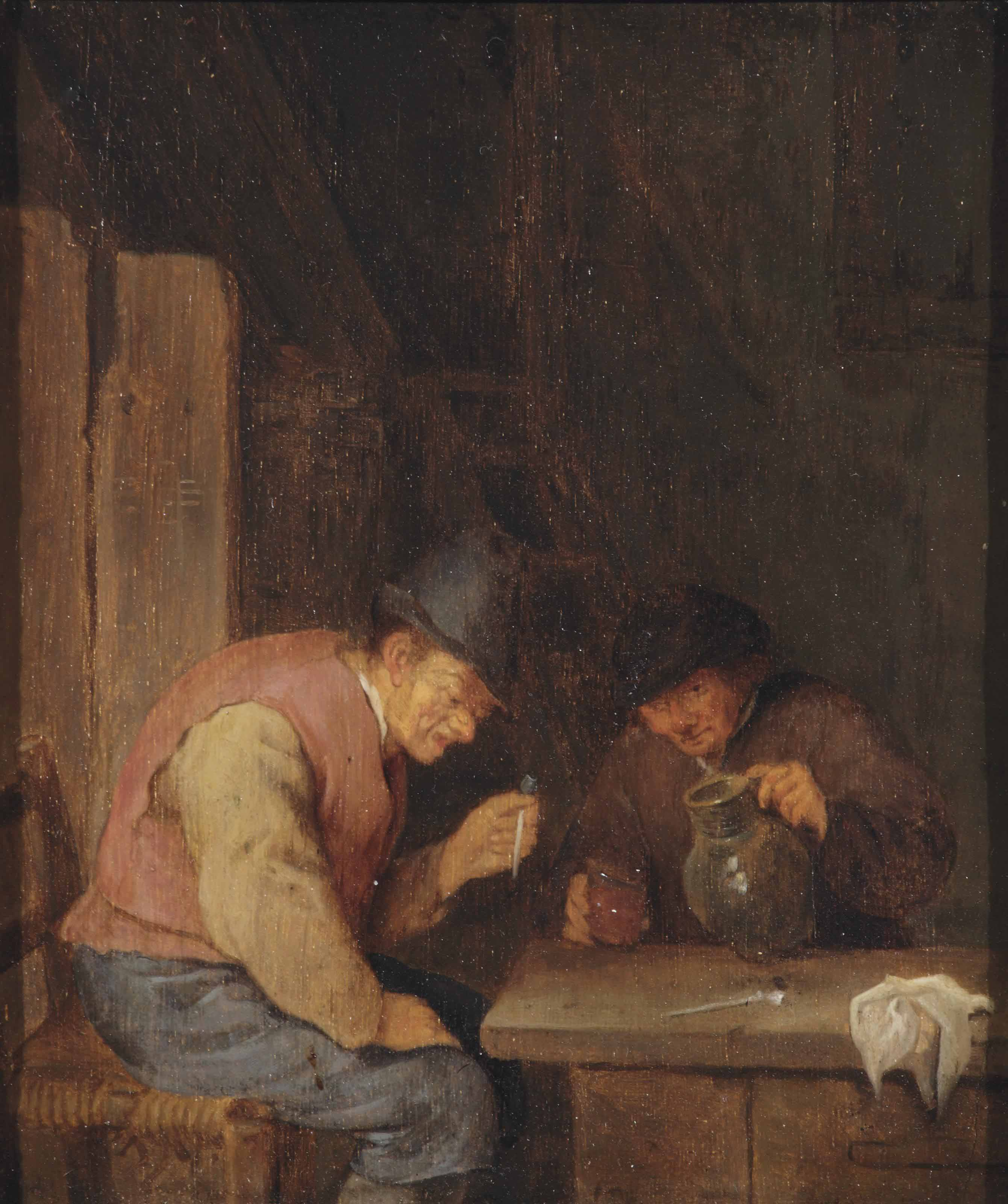 Two peasants smoking in an interior