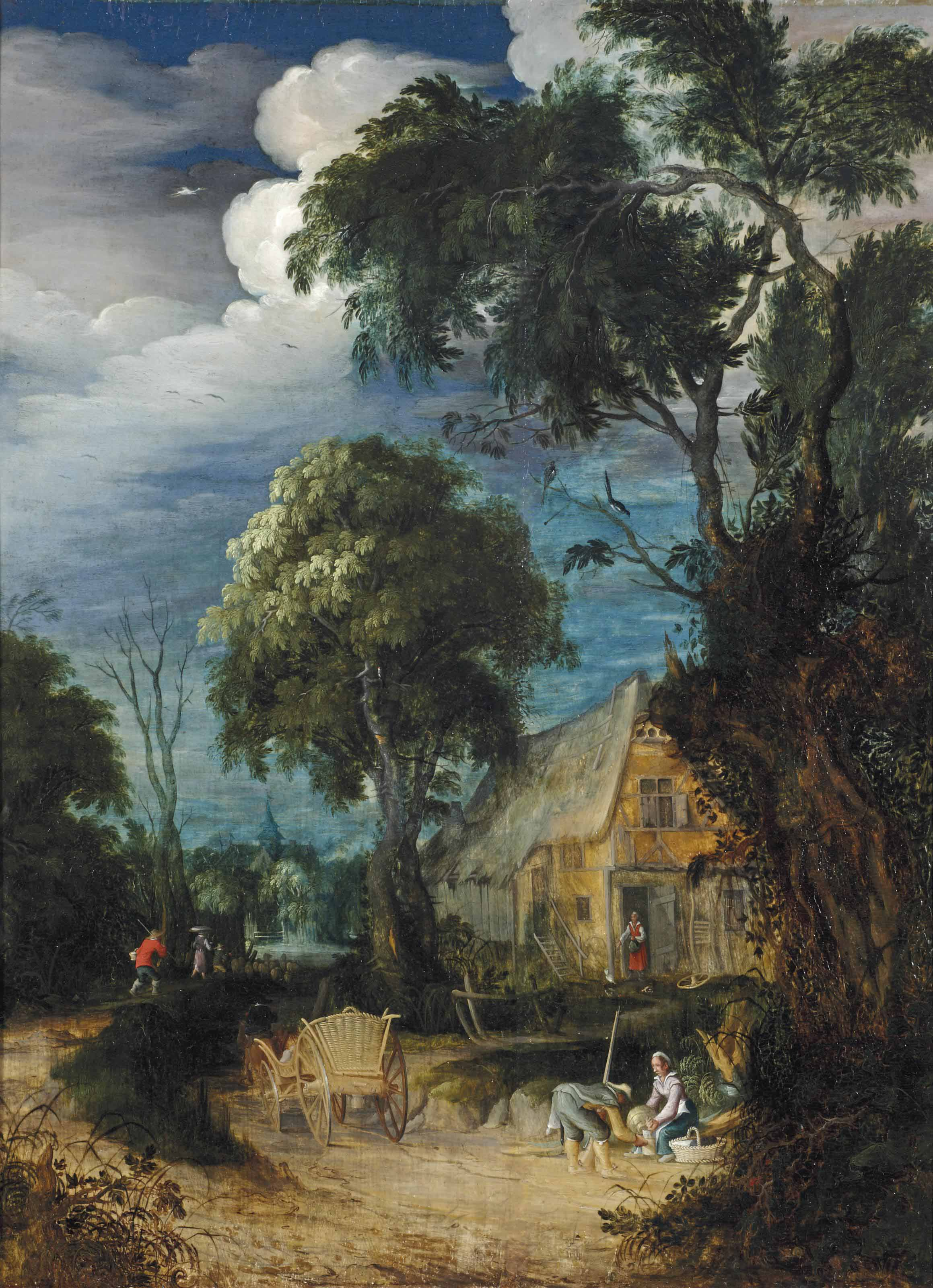 A wooded landscape with figures resting by a cottage, a horsedrawn cart and herdsmen nearby