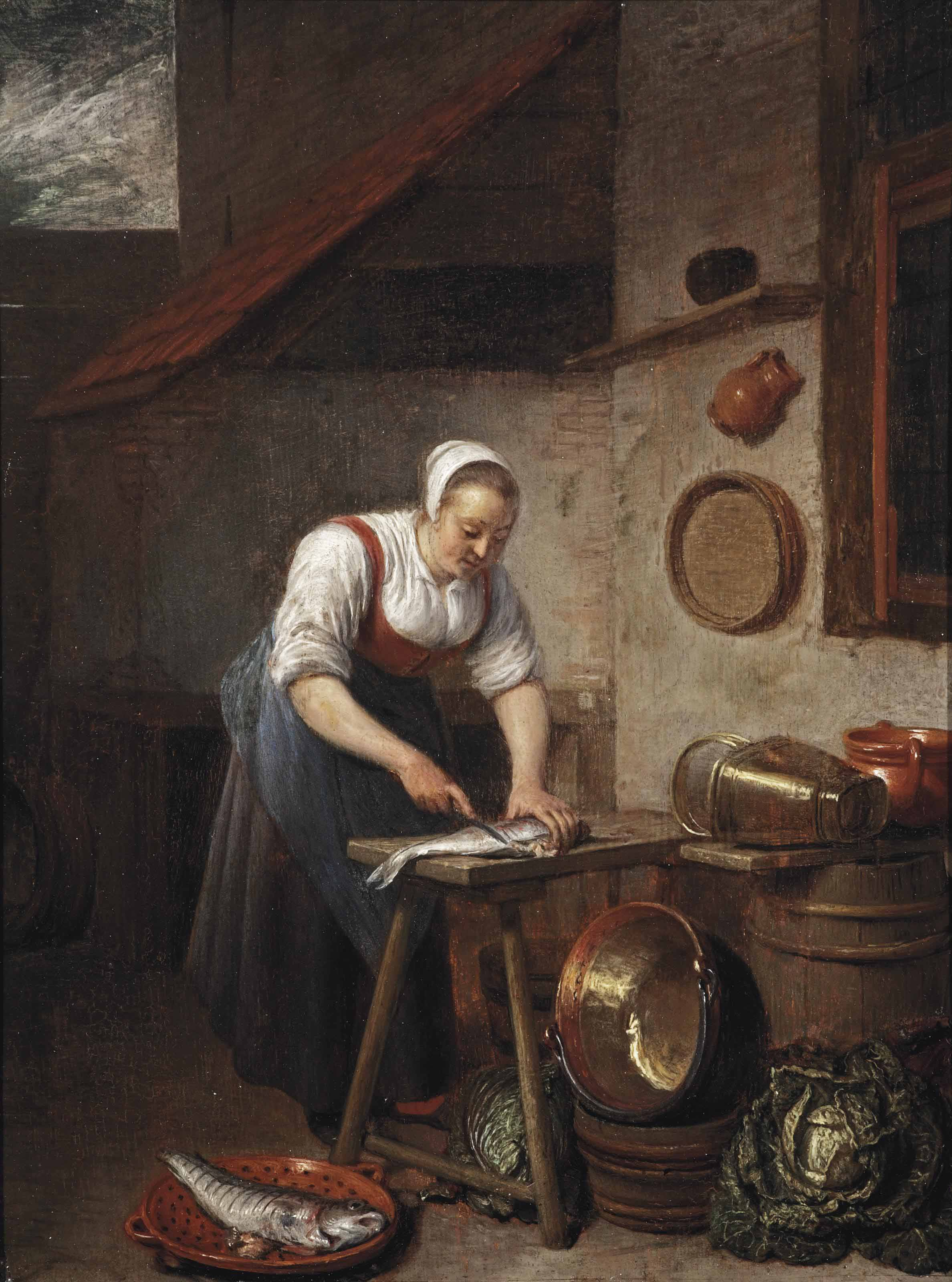 A maid standing by a table cleaning fish in a yard