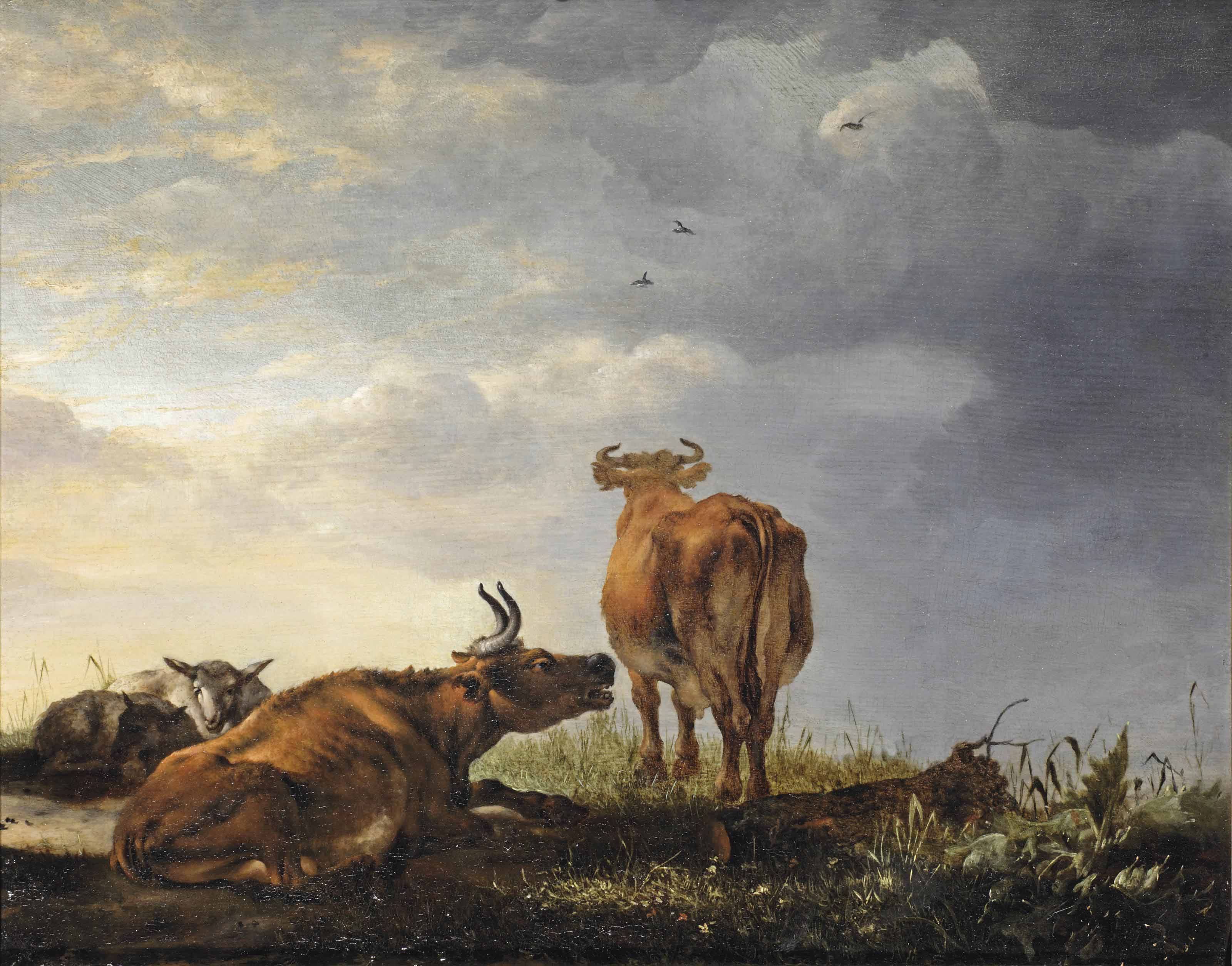Resting cattle in a landscape