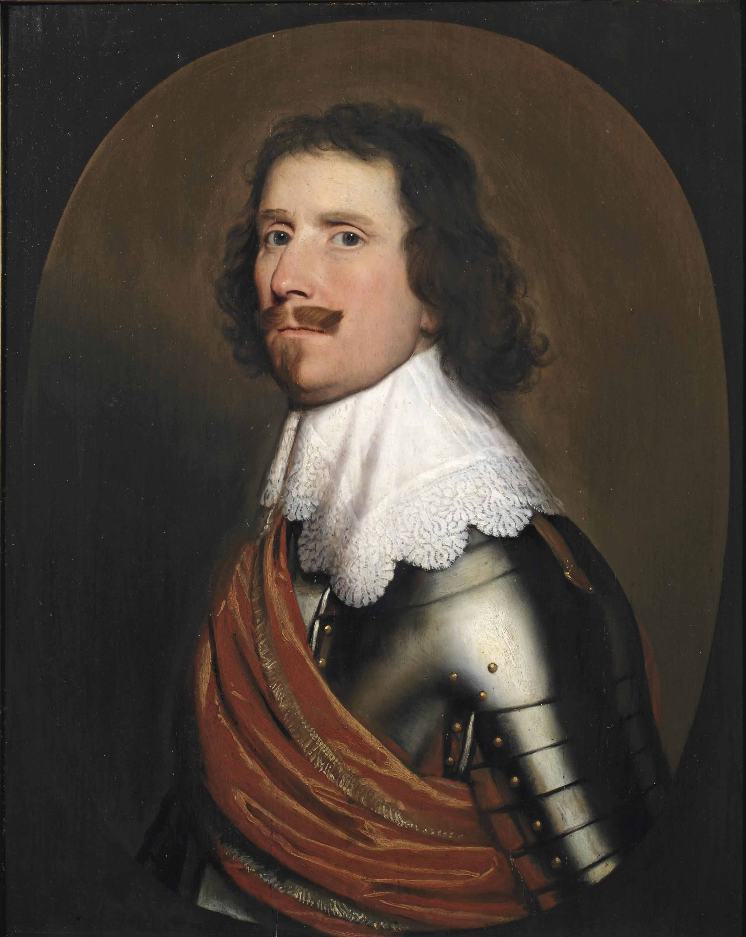 Portrait of a nobleman, half-length, in armor with a white lace collar and an orange sash, in a painted oval