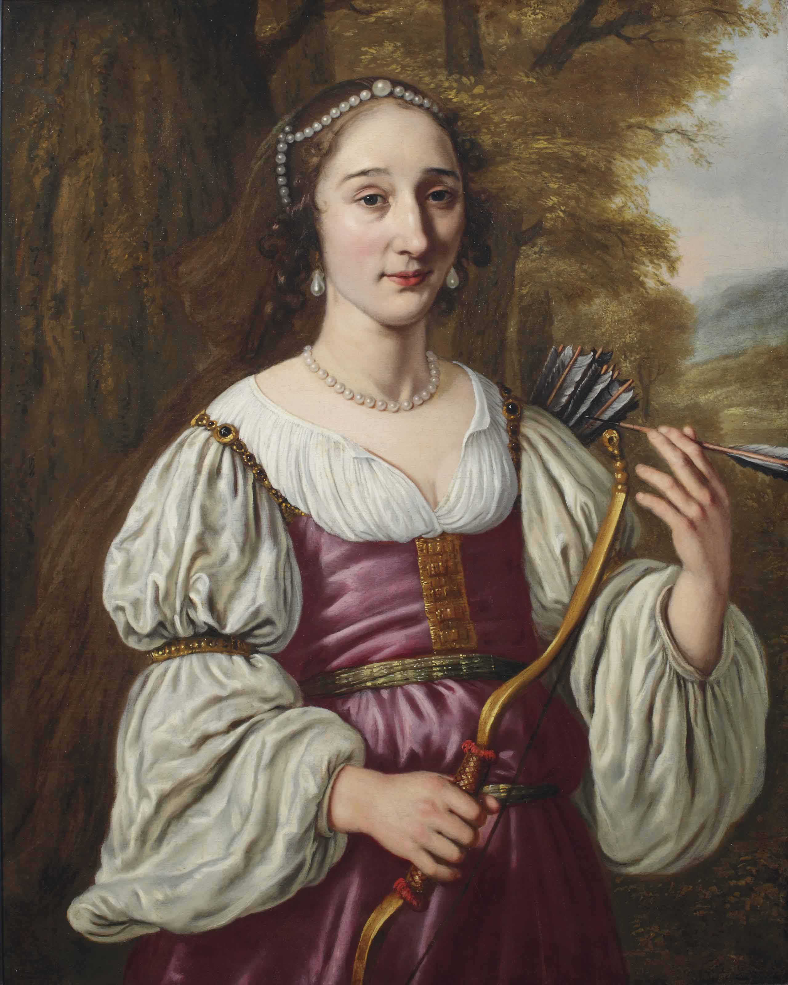 Portrait of a young lady as Diana, half-length, in a violet dress and pearl jewellery, holding a bow and quiver