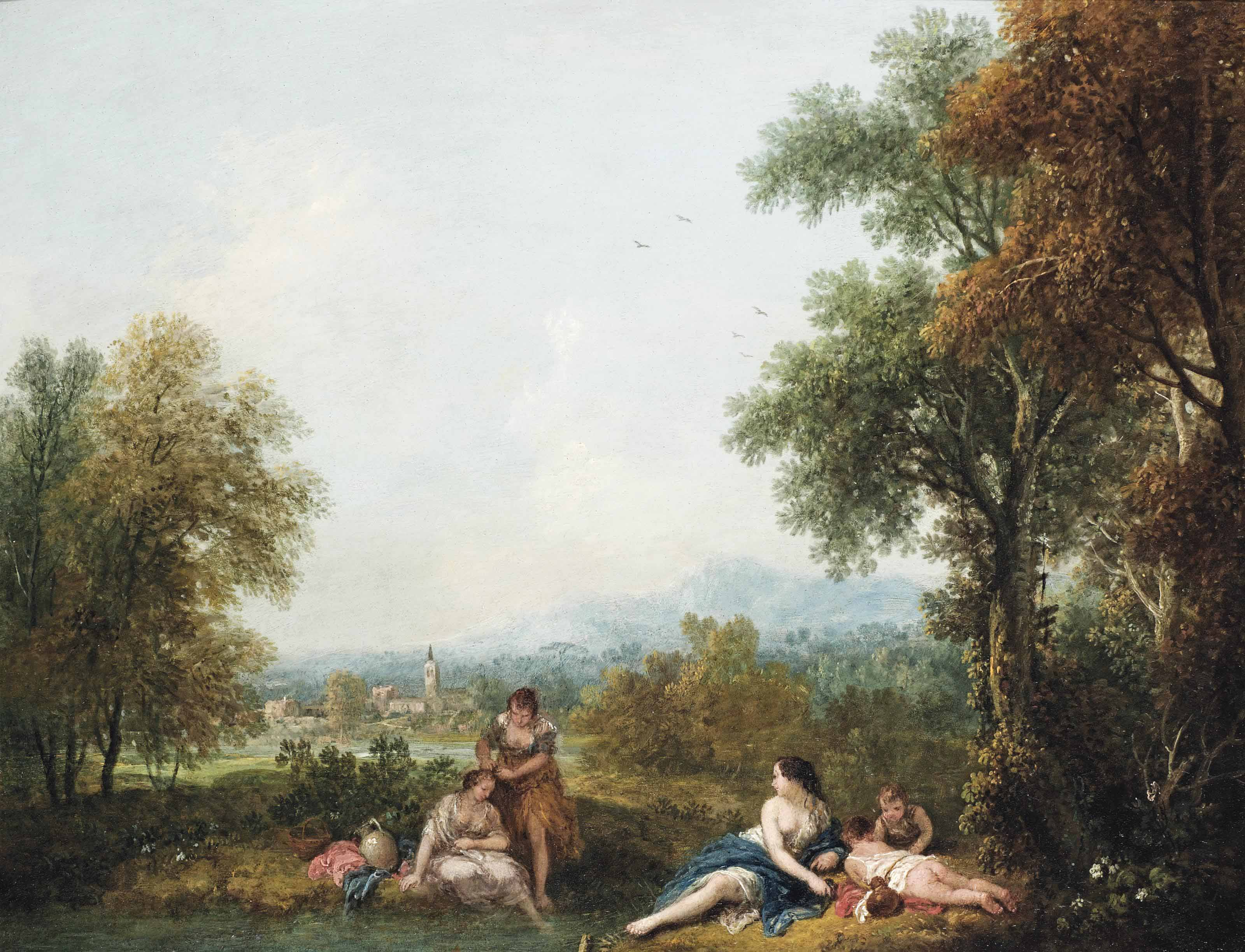 A pastoral river landscape with figures bathing