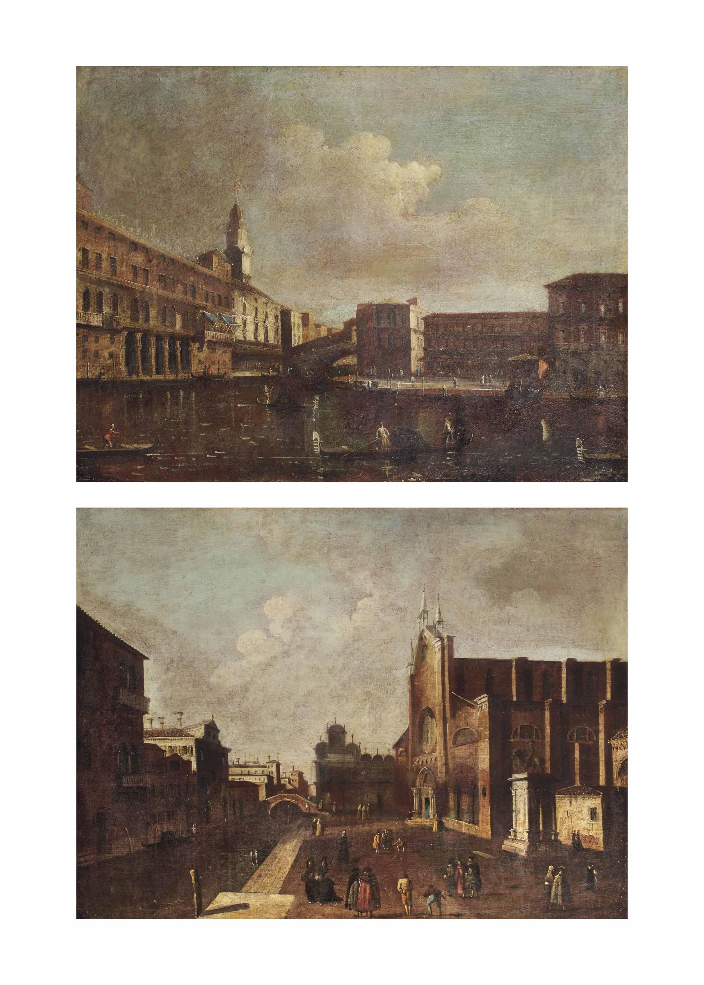 A view of the Grand Canal, Venice, with the Fondaco dei Tedeschi and the Rialto bridge; and a view of the Campo Santi Giovanni e Paolo, Venice, looking on the Scuola di San Marco and the Chiesa Santa Maria dei Frari