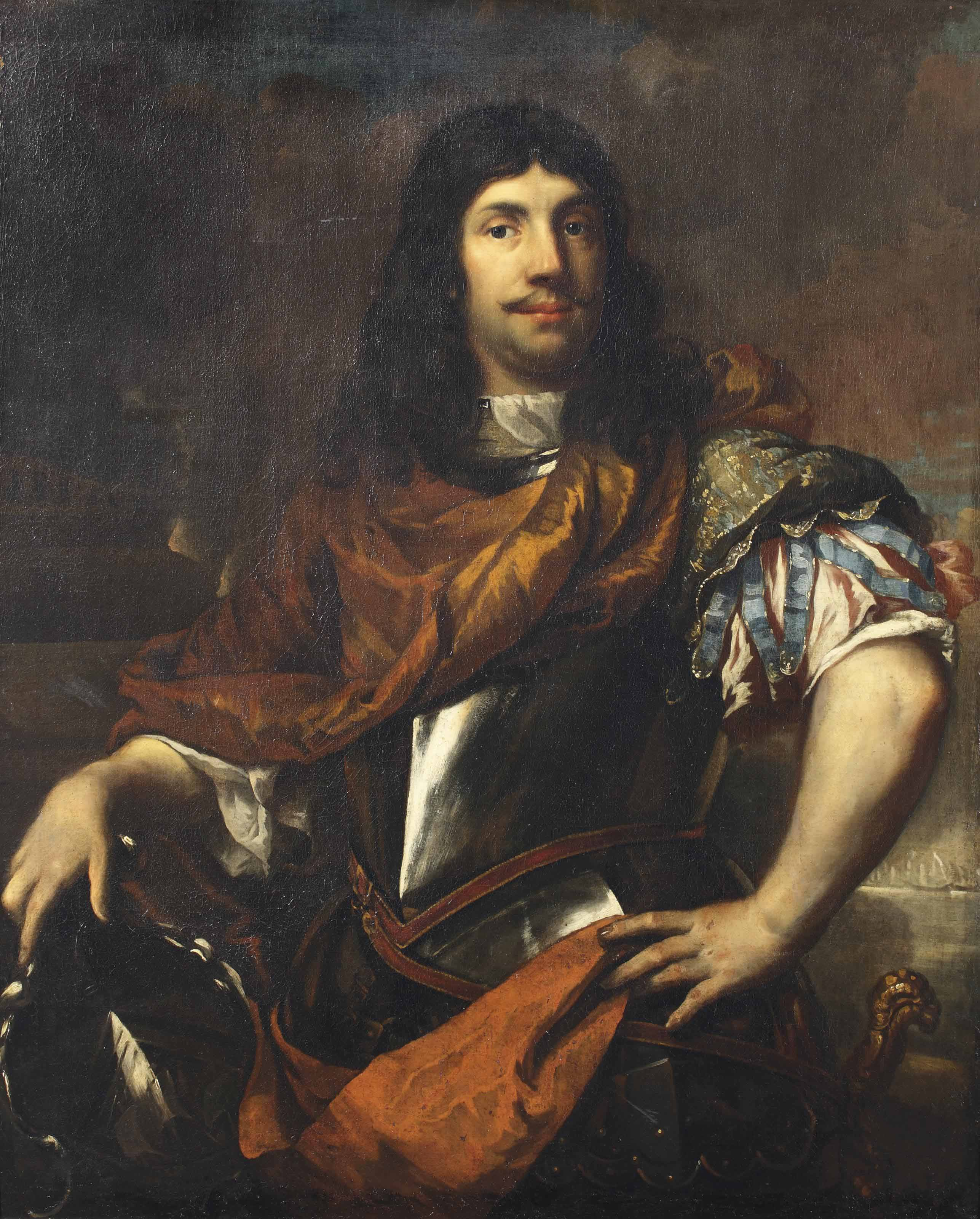 Portrait of Cornelis Tromp (1629-1691), three-quarter-length, in a breastplate, his right hand resting on his coat-of-arms